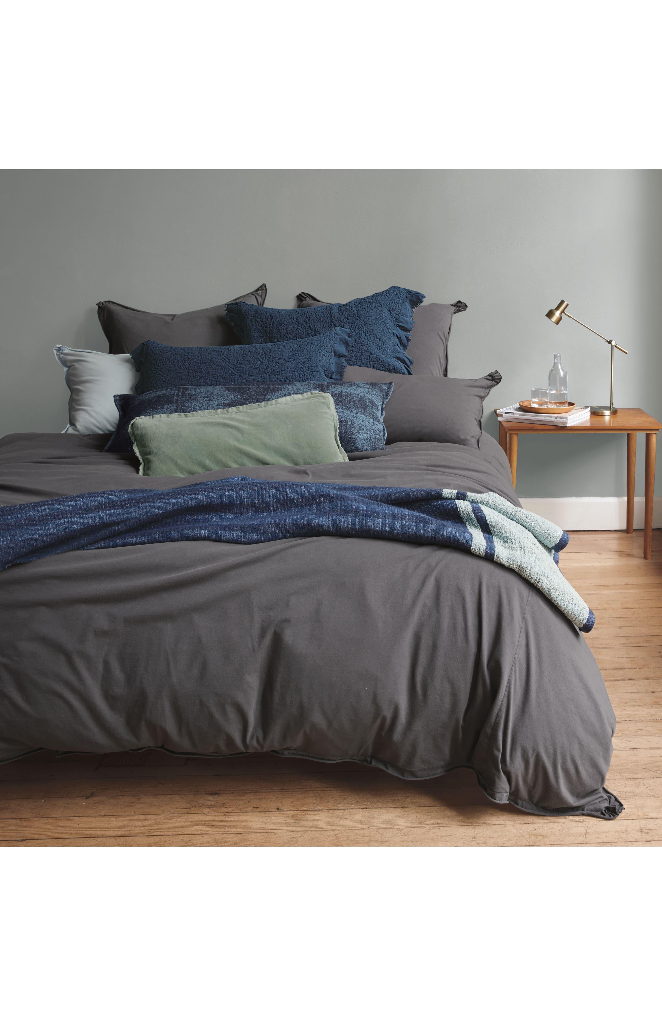 Stonewash Jersey Duvet Cover,                         Main,                         color, Grey Onyx