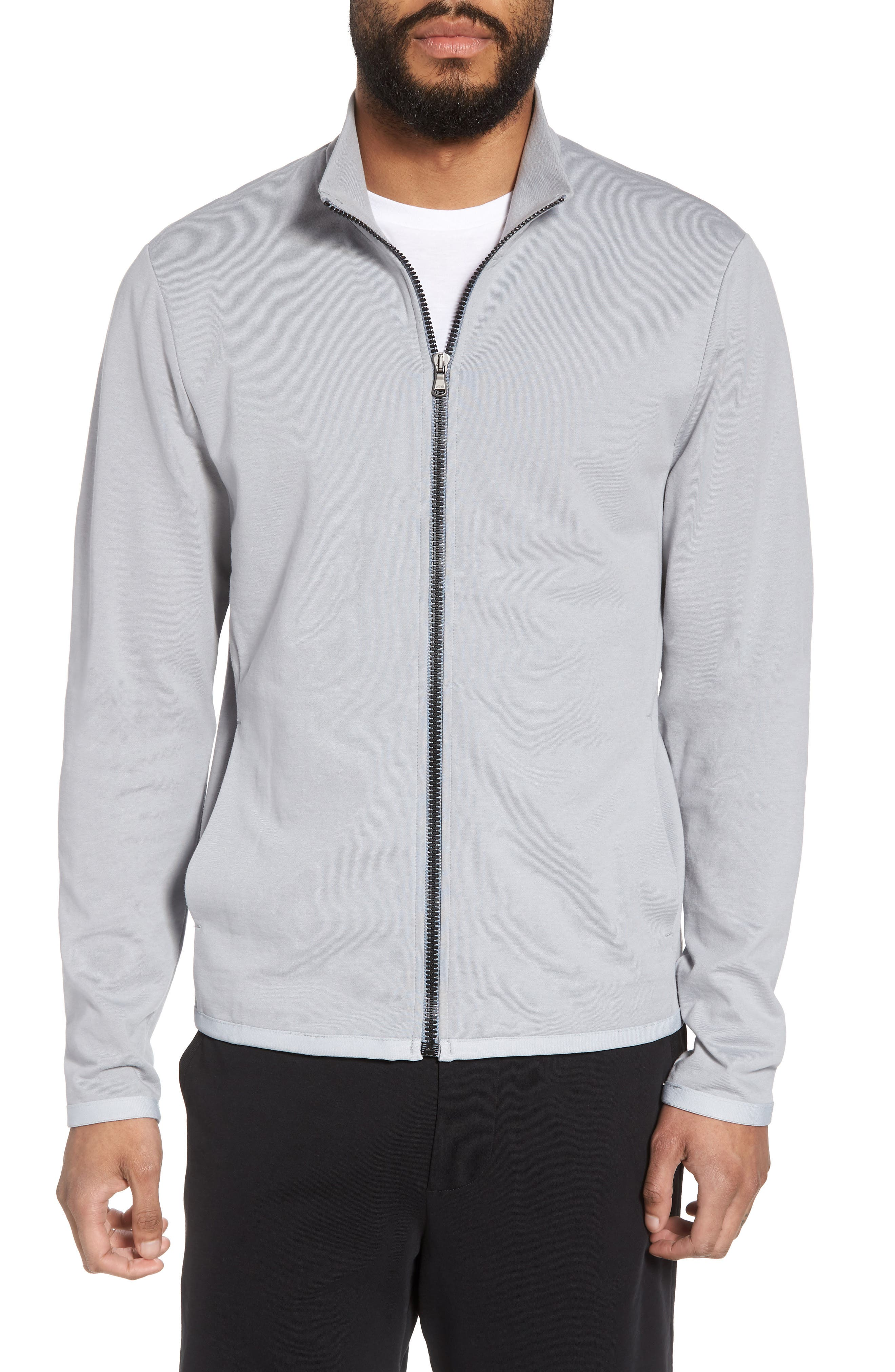 Slim Fit Compact Terry Zip Jacket,                         Main,                         color, Grey Sky/ Light Grey