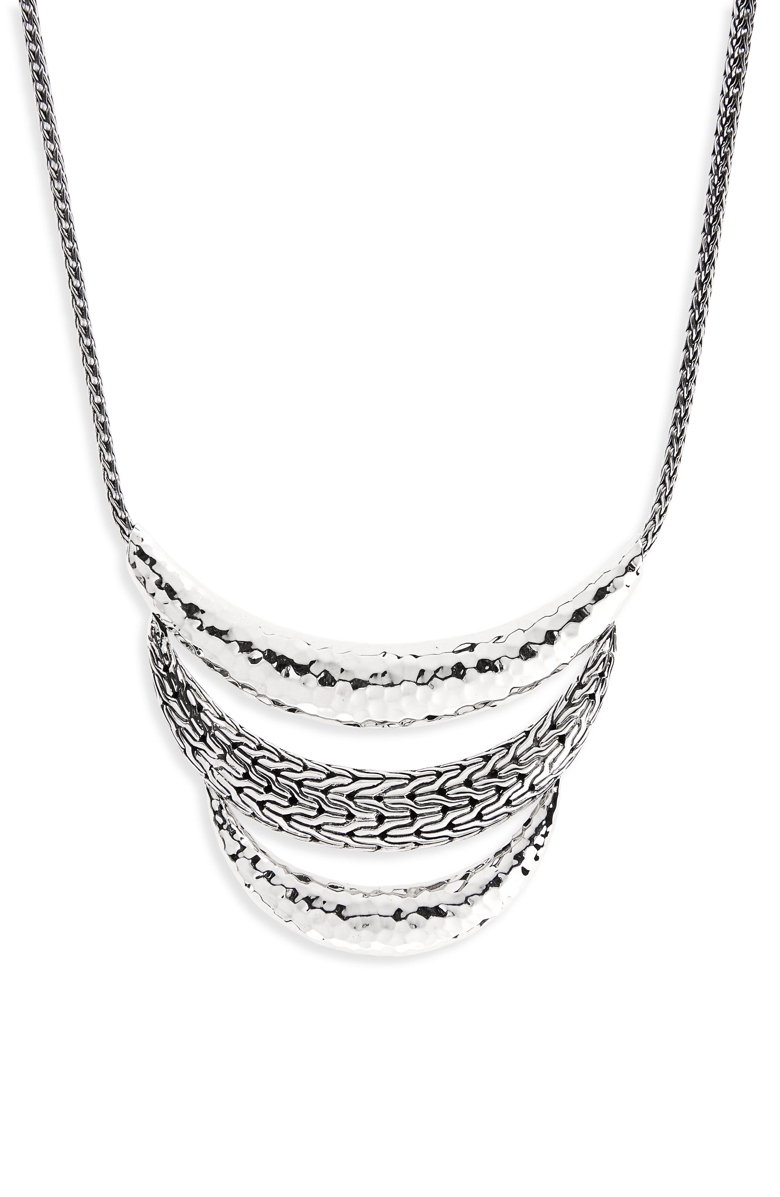 Classic Chain Hammered Silver Necklace,                             Main thumbnail 1, color,                             Silver