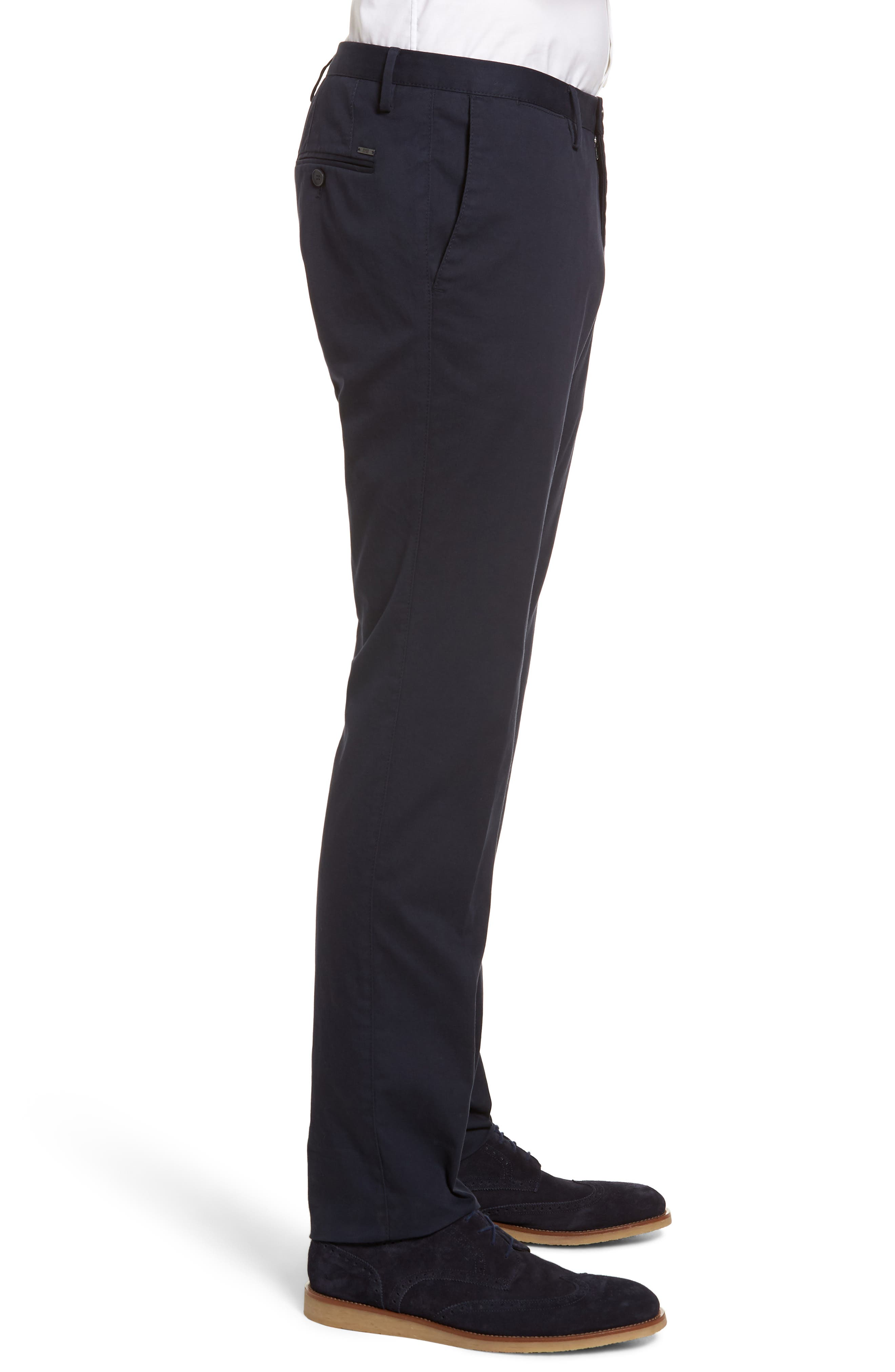 Stanino-W Flat Front Stretch Cotton Trousers,                             Alternate thumbnail 3, color,                             Navy