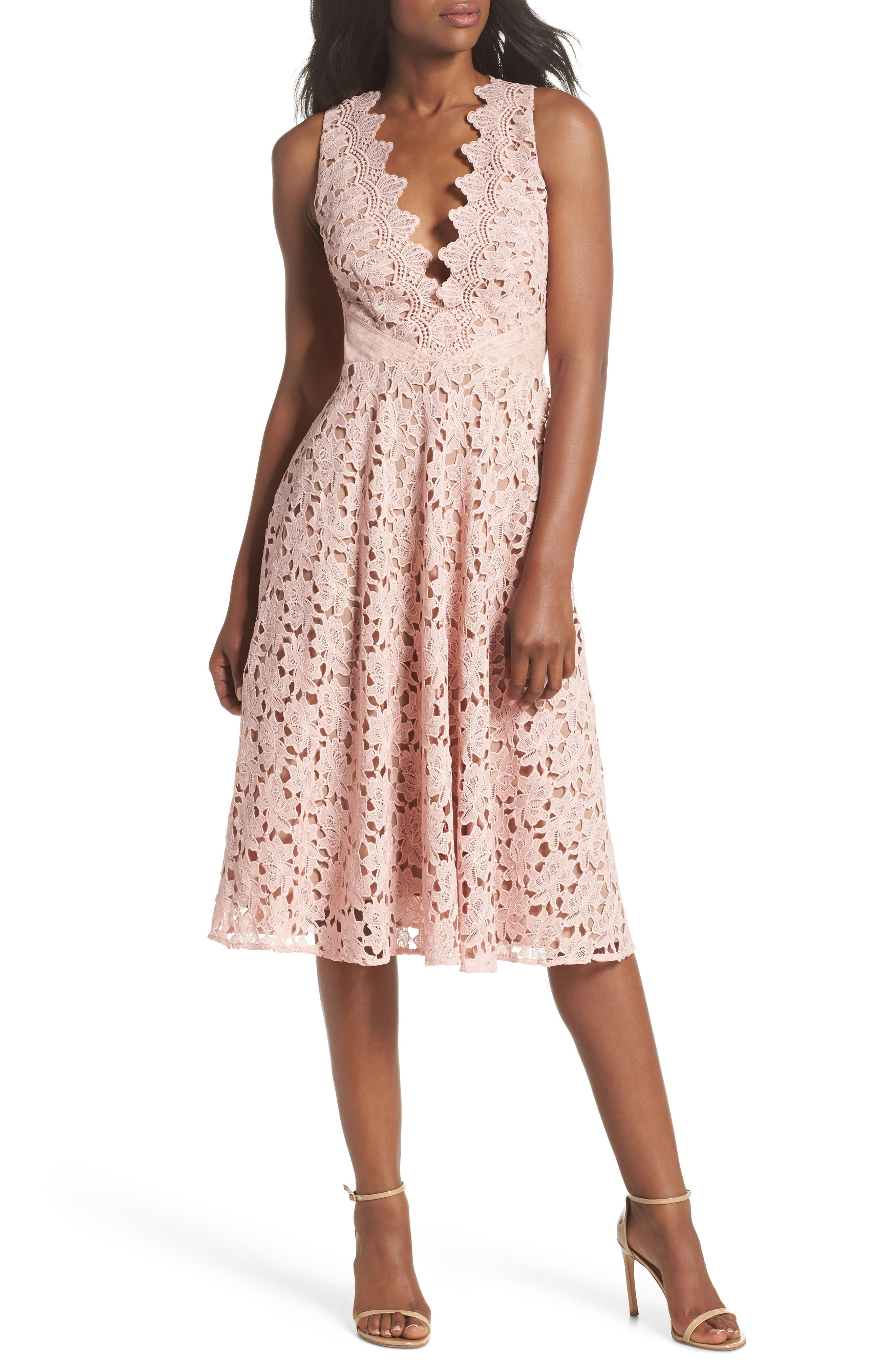 Ashley Guipure Lace Fit & Flare Dress,                             Main thumbnail 1, color,                             Pink
