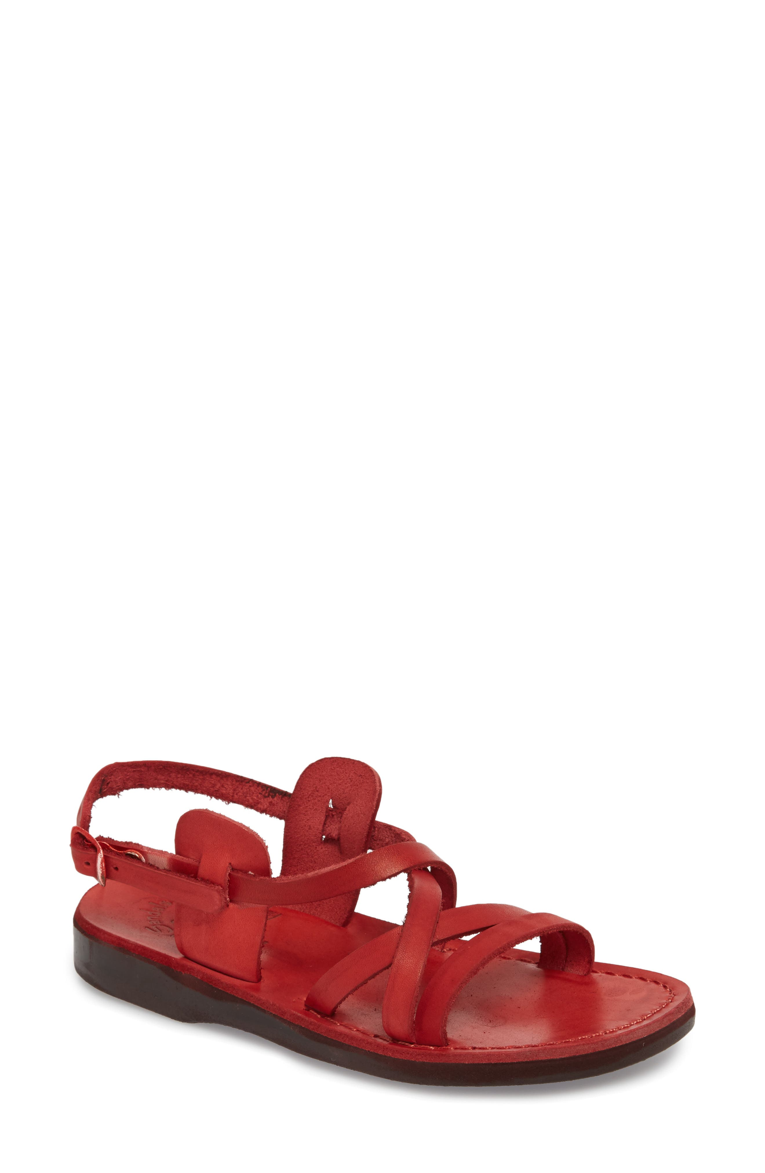 Tzippora Slingback Sandal,                         Main,                         color, Red Leather