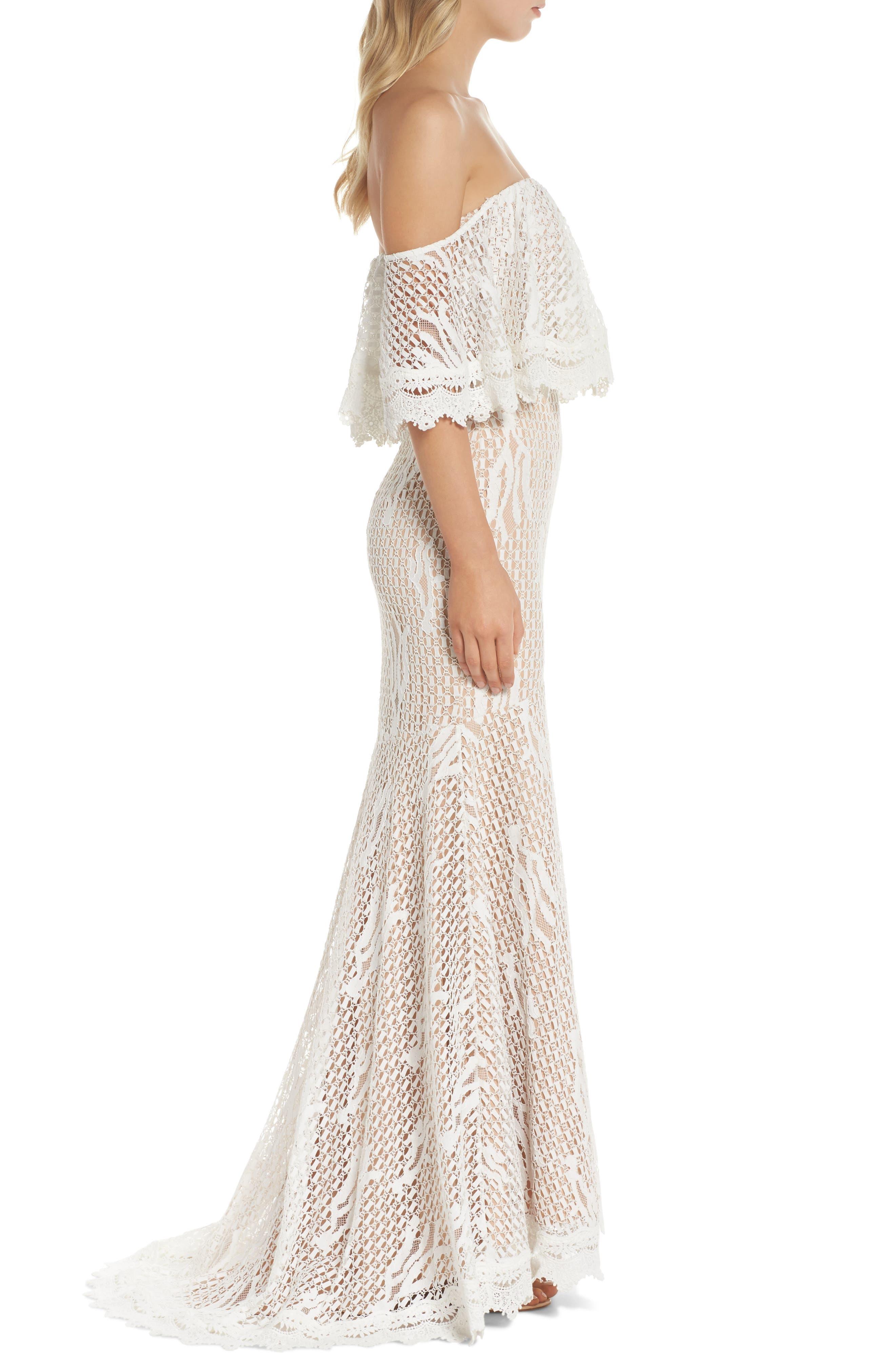 Davilea Off the Shoulder Lace Gown,                             Alternate thumbnail 3, color,                             Ivory