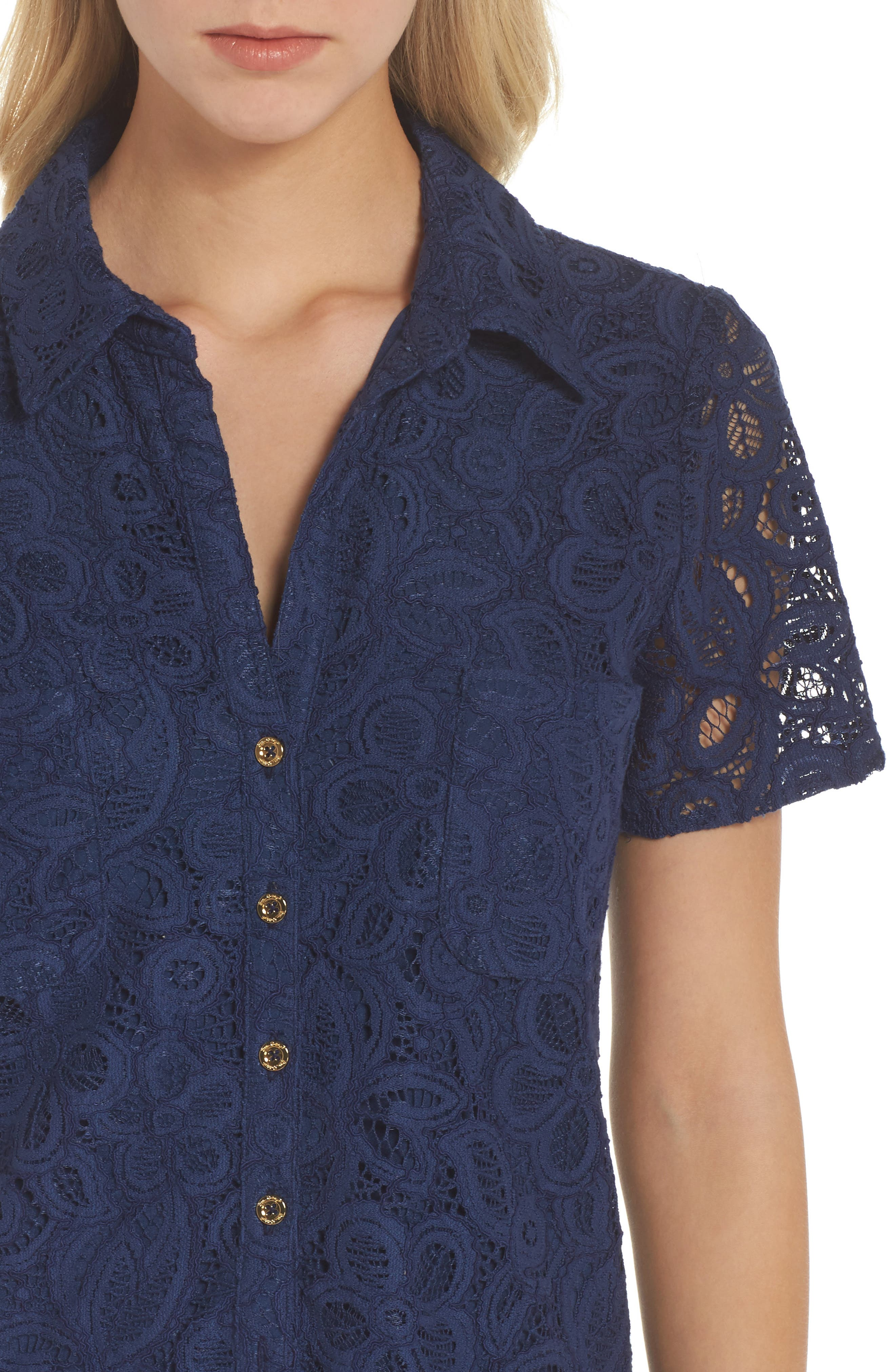 Nelle Shirtdress,                             Alternate thumbnail 4, color,                             High Tide Floral Pop Lace