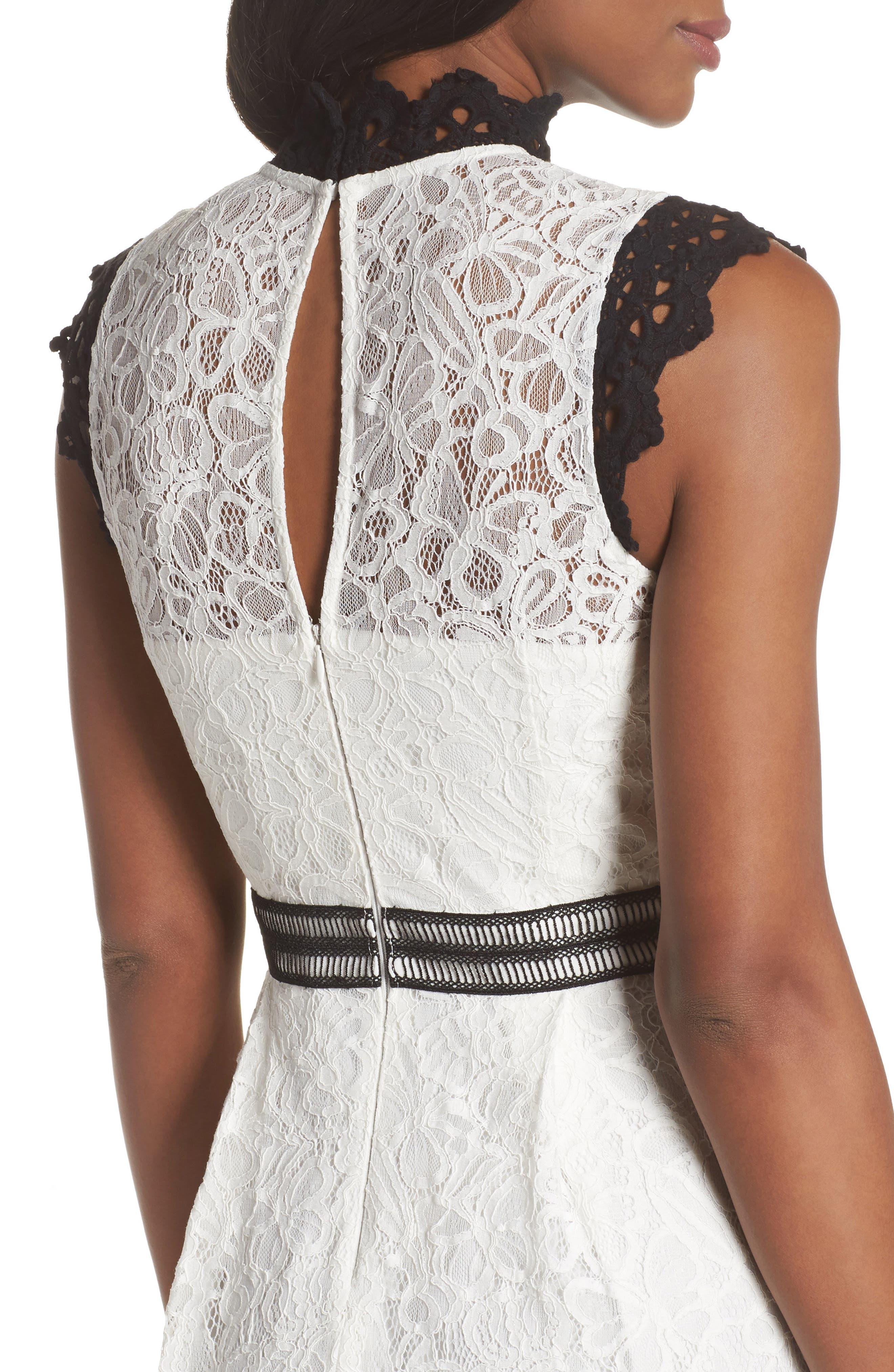 Hilda Fit & Flare Dress,                             Alternate thumbnail 4, color,                             White/ Black