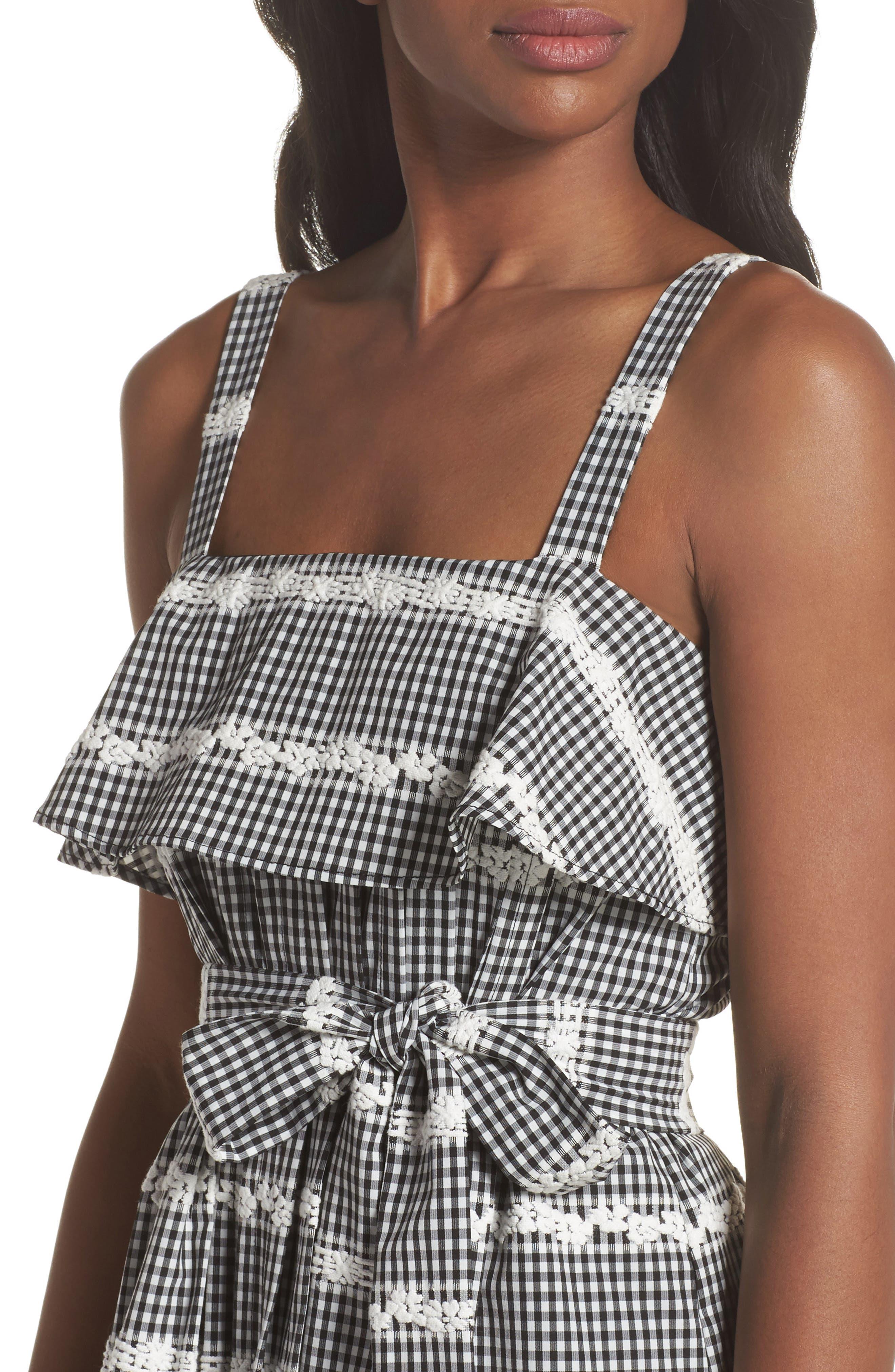Belle Midi Dress,                             Alternate thumbnail 4, color,                             Black/ White