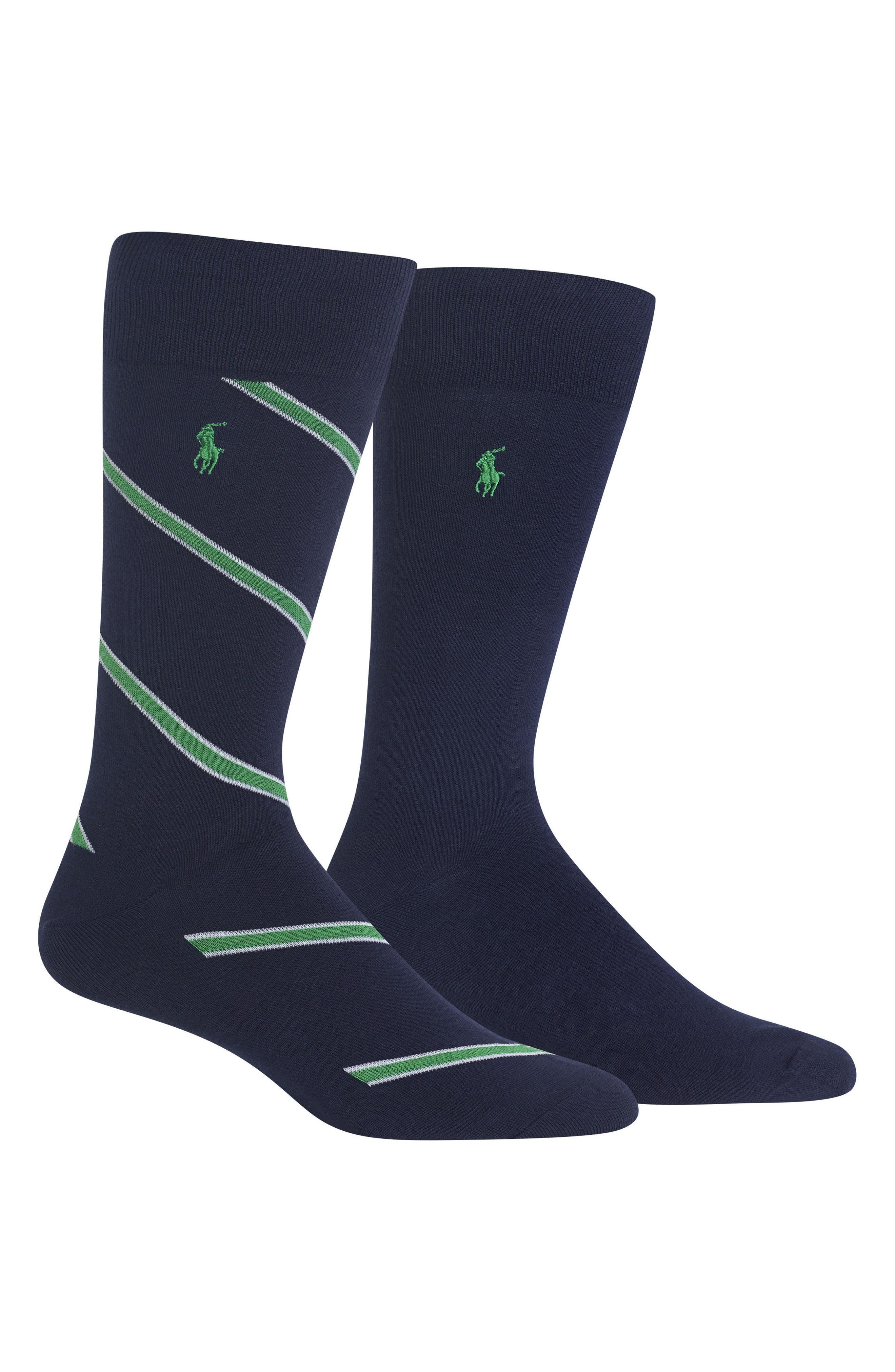 Ralph Lauren 2-Pack Socks,                             Main thumbnail 1, color,                             Navy