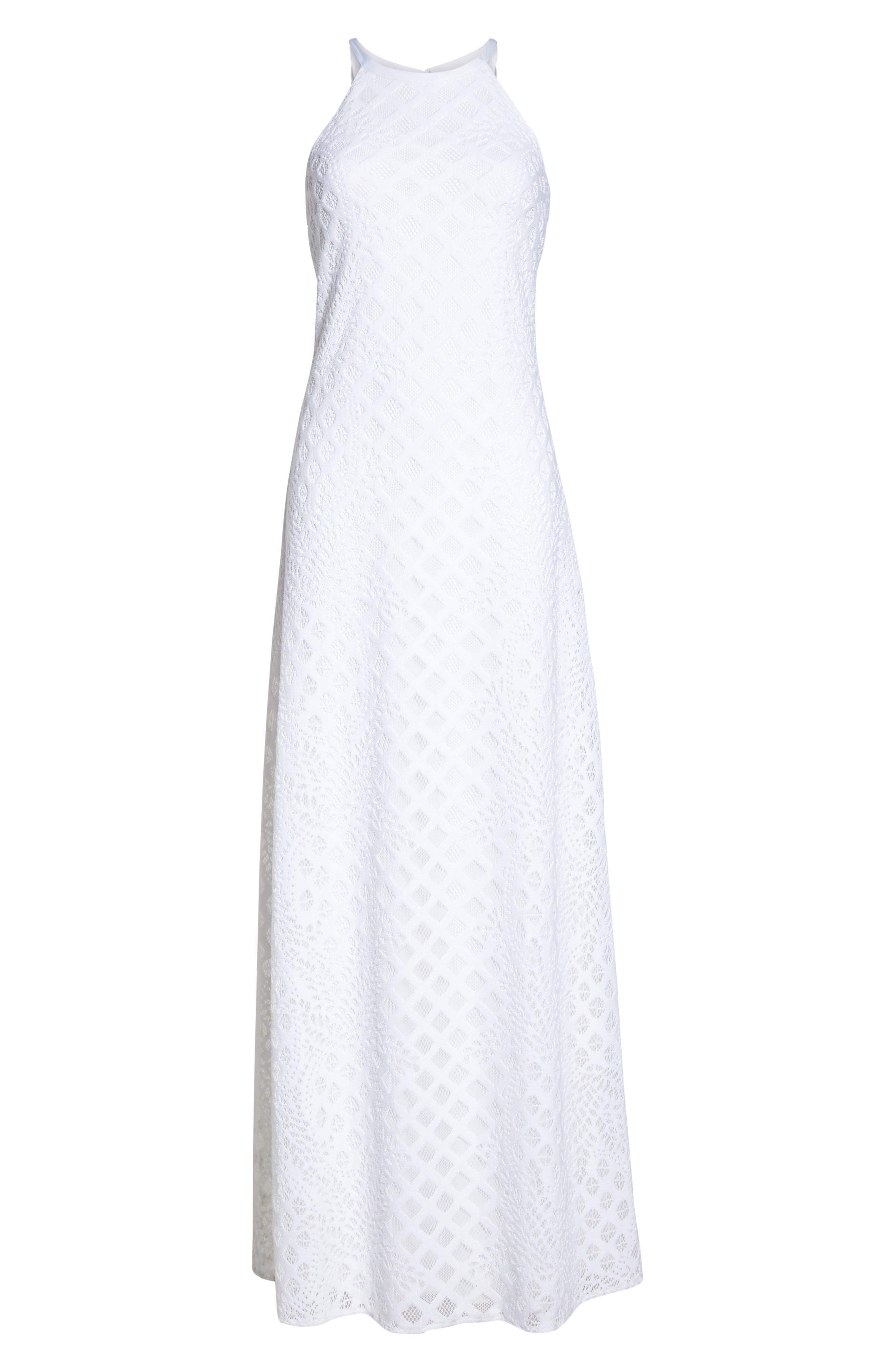 Pearl Maxi Dress,                             Alternate thumbnail 6, color,                             Resort White Pineapple Lace