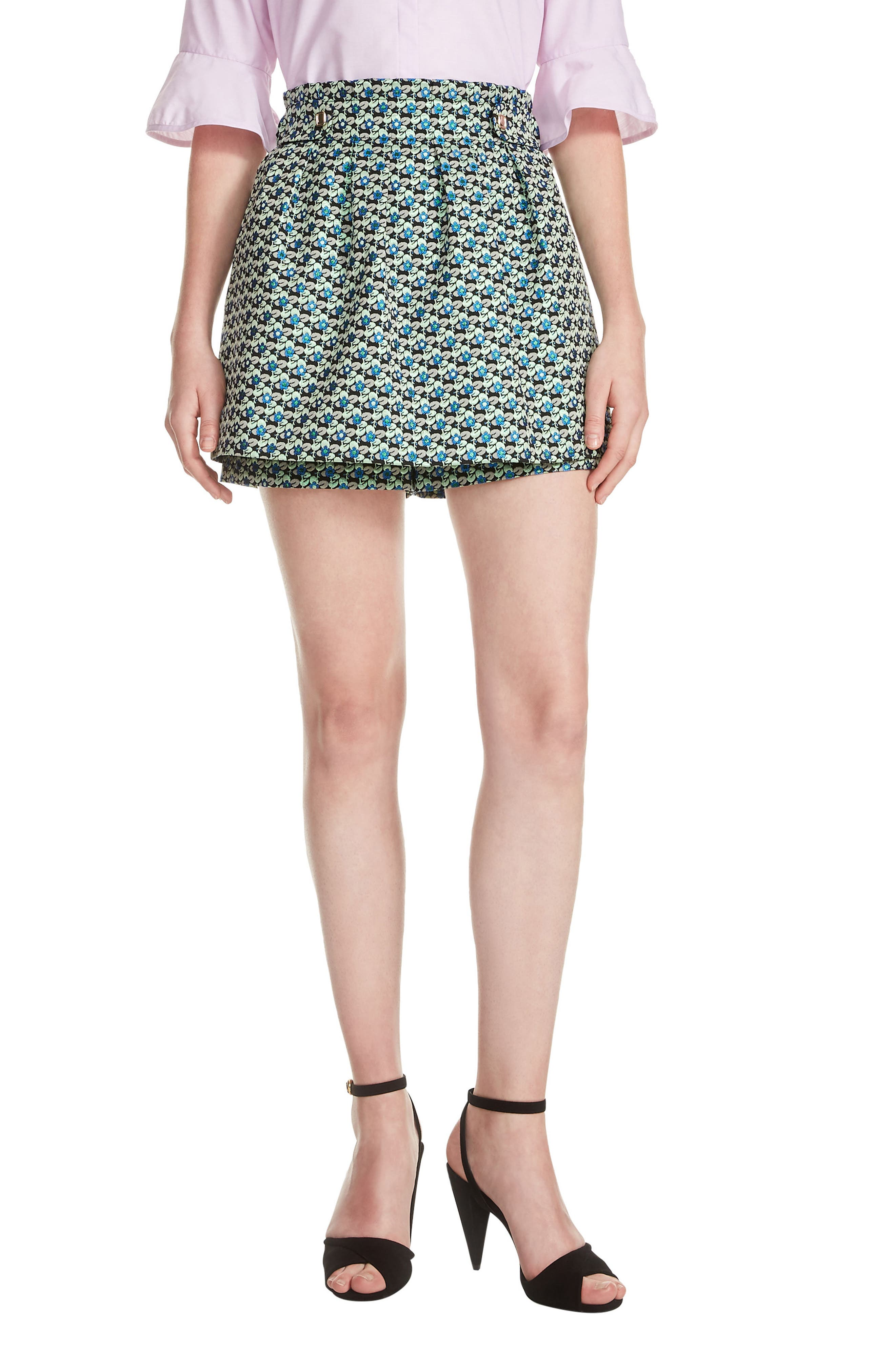 Floral Culotte Shorts,                             Main thumbnail 1, color,                             Jacquard