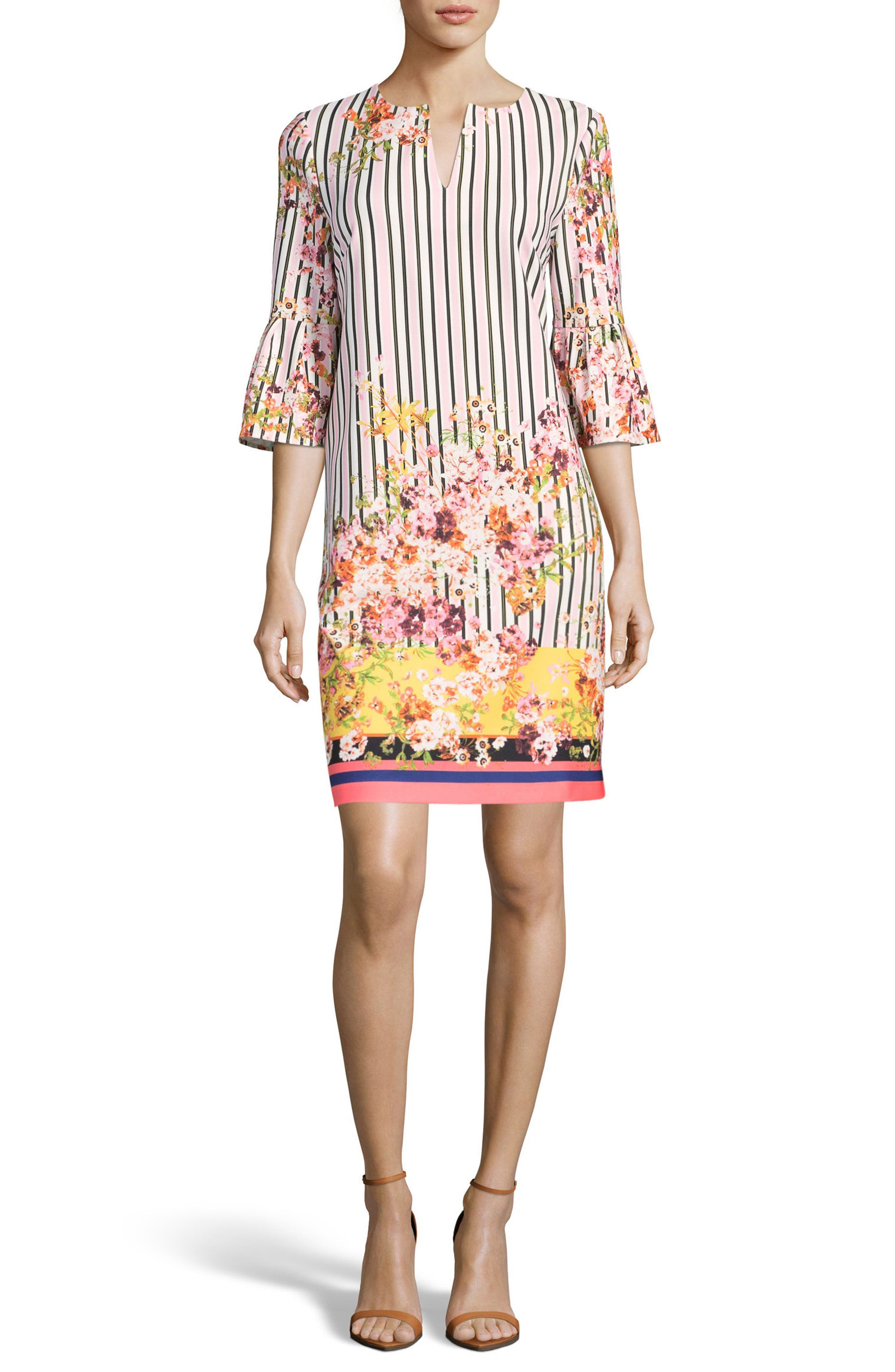 Floral & Stripe Shift Dress,                         Main,                         color, Blush