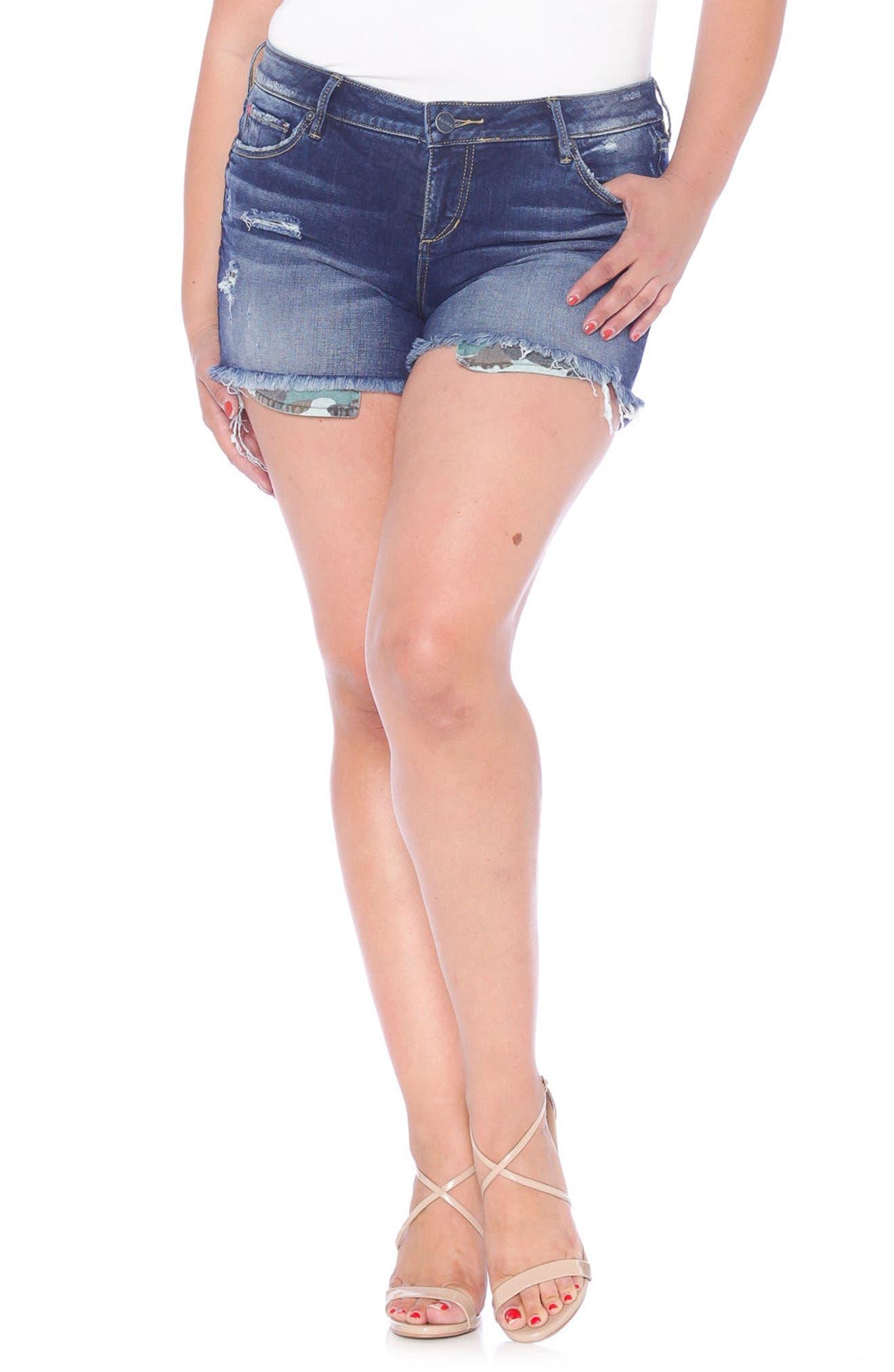 Exposed Pockets Cutoff Denim Shorts,                         Main,                         color, Tiffaney