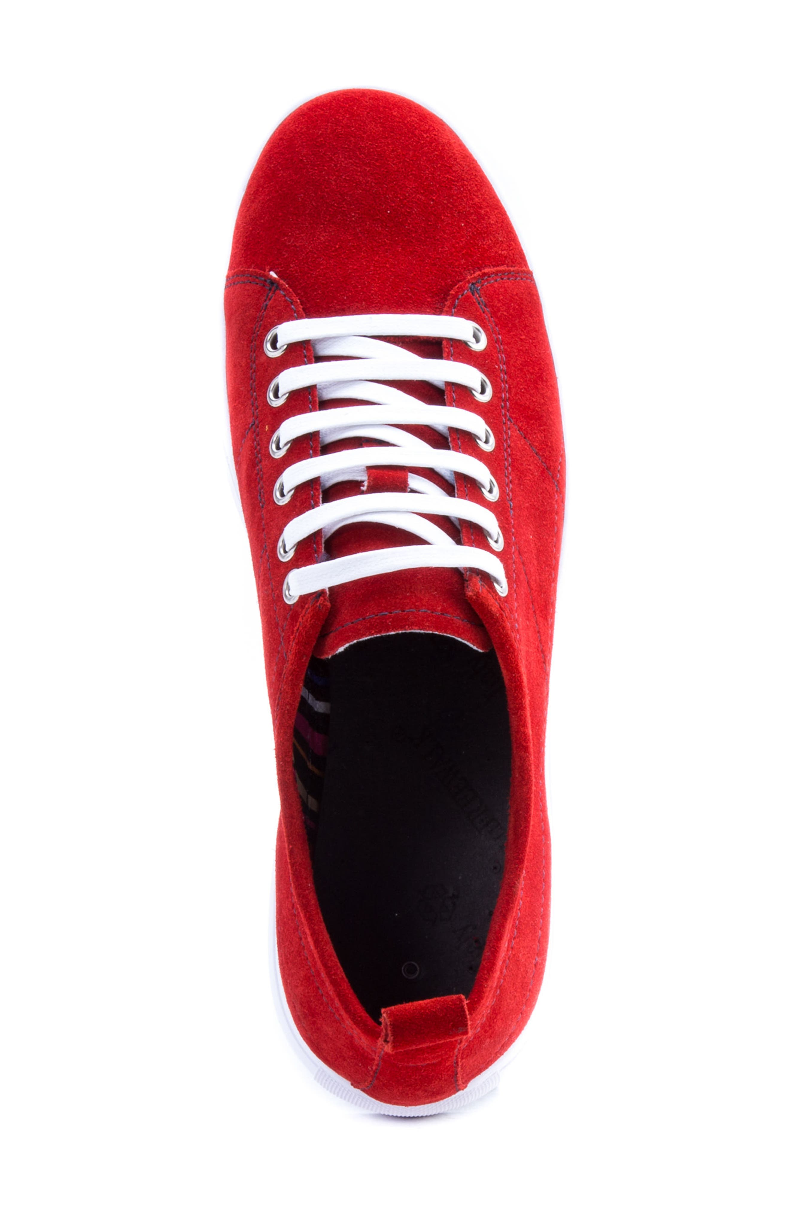 Ernesto Low Top Sneaker,                             Alternate thumbnail 5, color,                             Red Suede