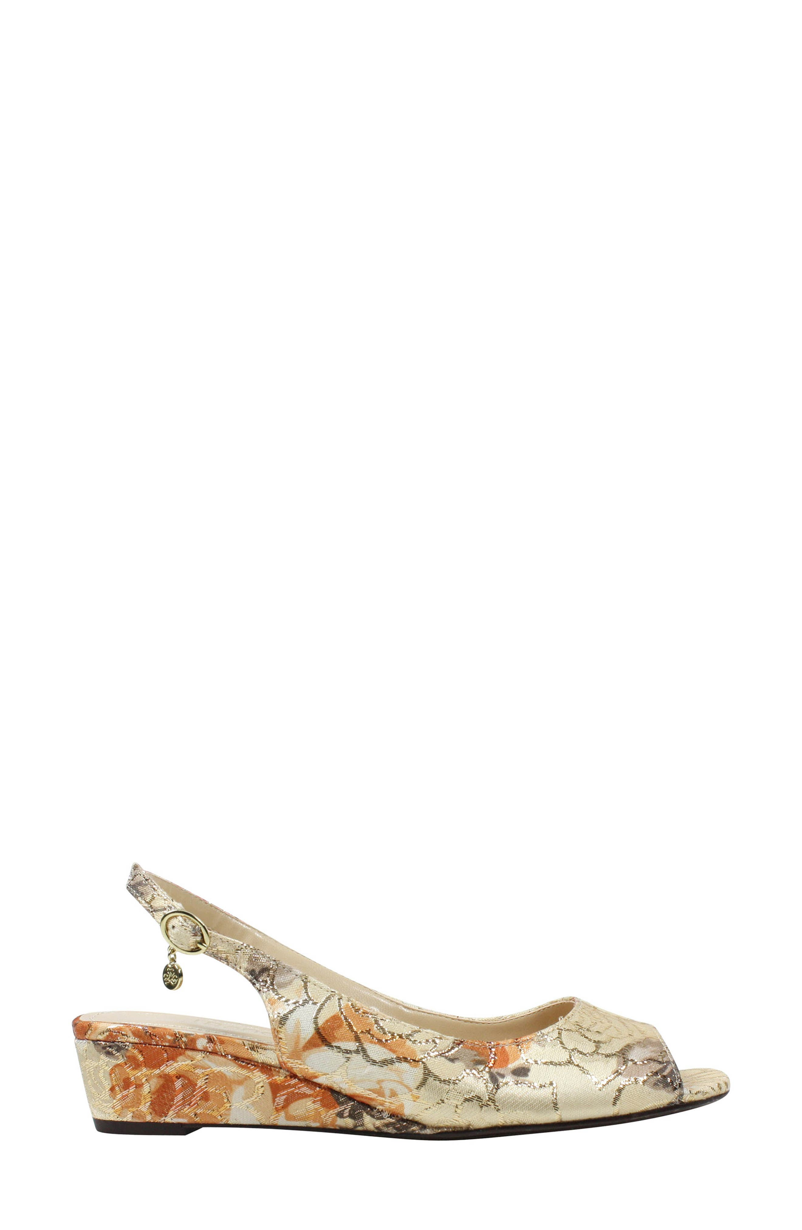 Alivia Slingback Sandal,                             Alternate thumbnail 3, color,                             Nude Multi/ Gold Fabric