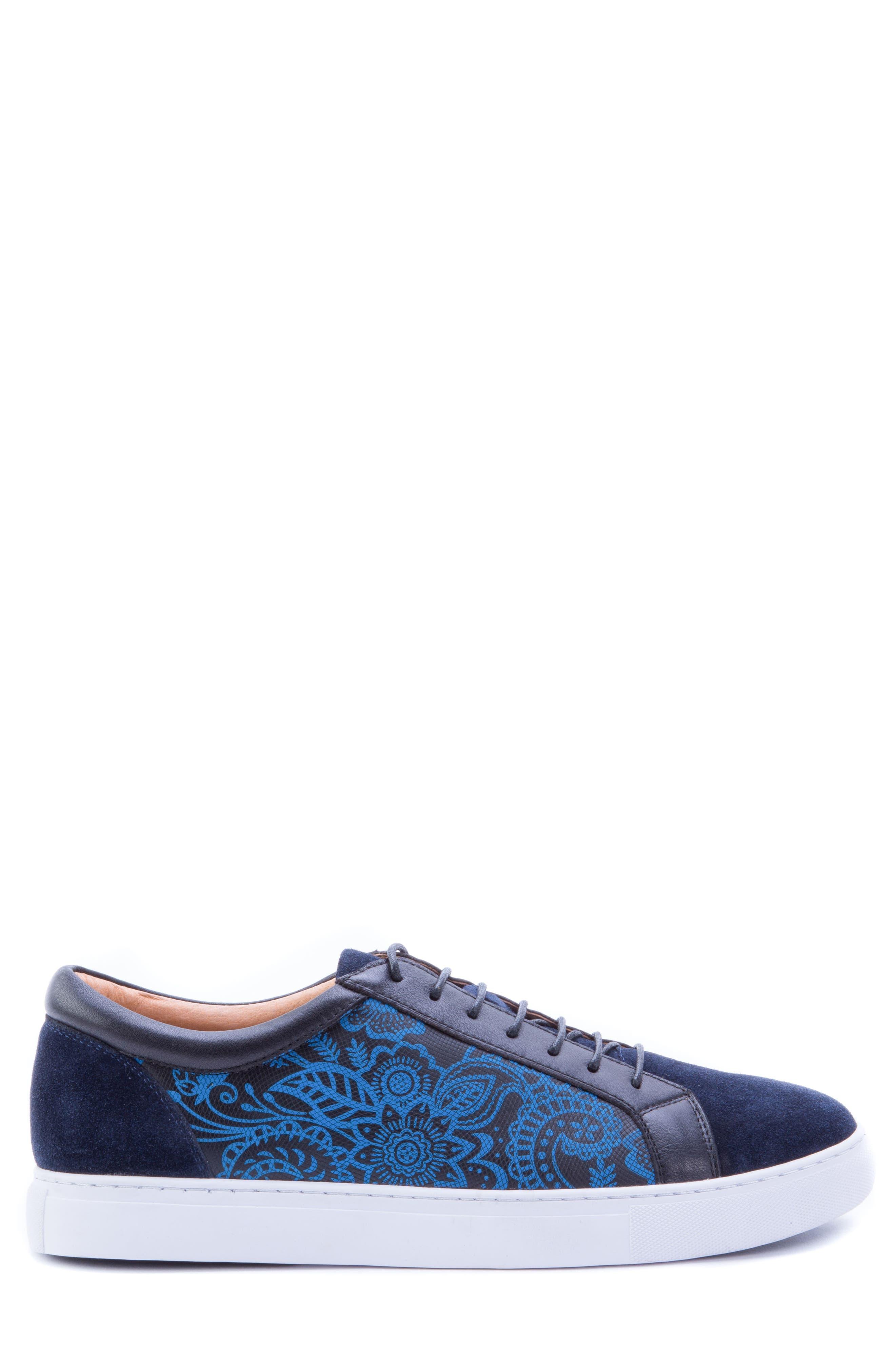 Rubio Floral Sneaker,                             Alternate thumbnail 3, color,                             Navy Suede