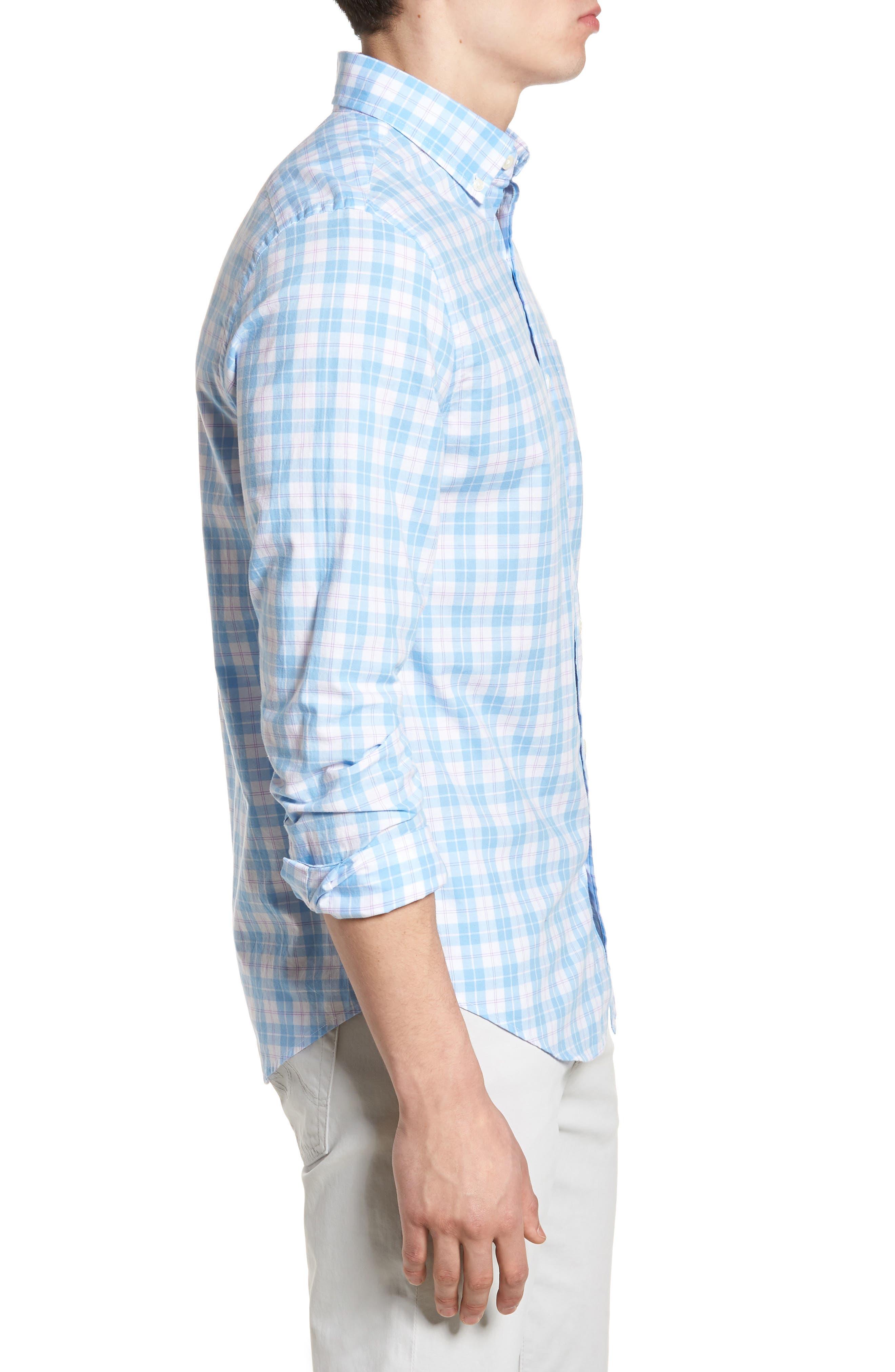 Shallow Sea Slim Fit Plaid Sport Shirt,                             Alternate thumbnail 3, color,                             Ocean Breeze