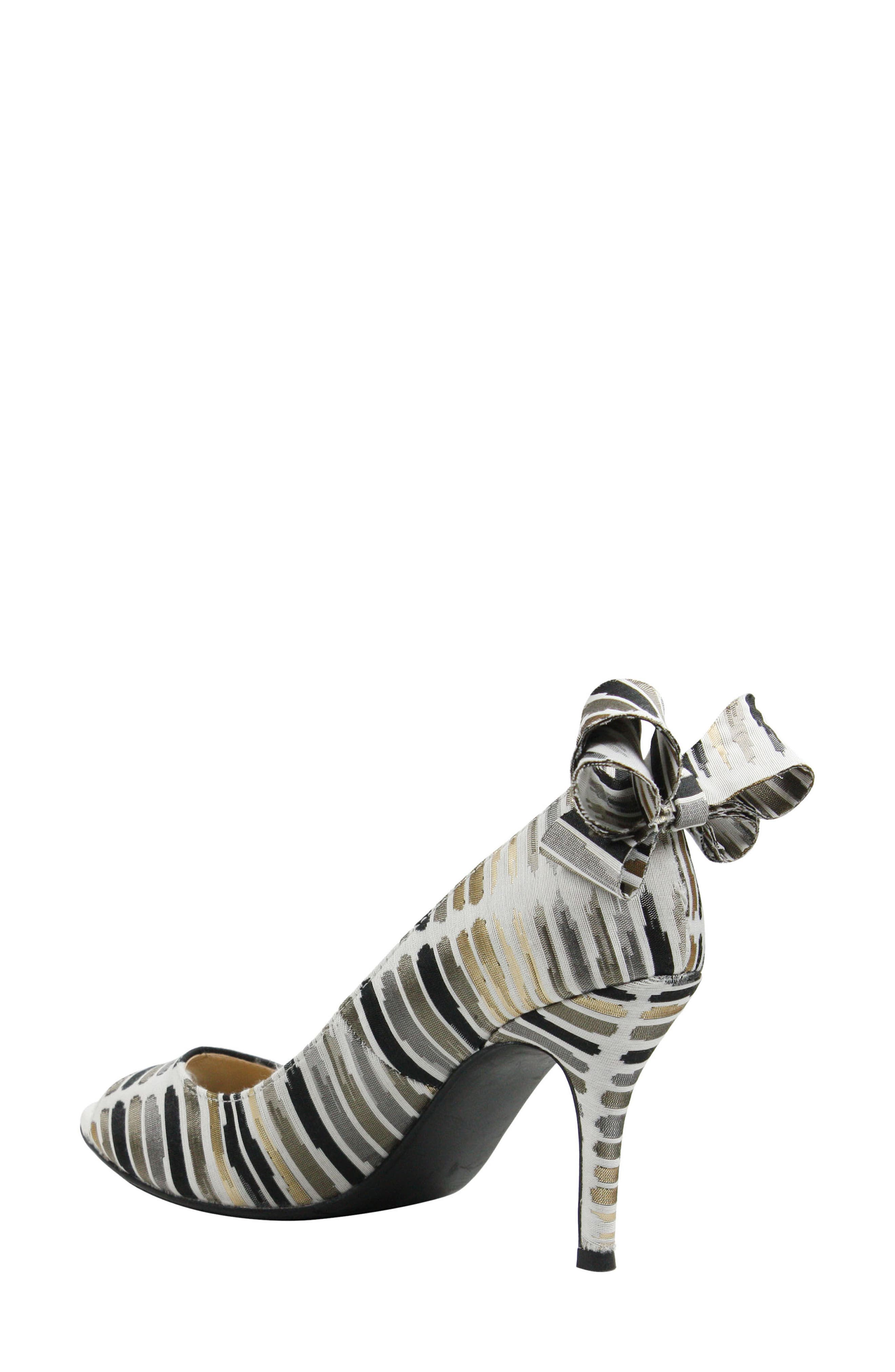 Ellasee Bow Peep Toe Pump,                             Alternate thumbnail 2, color,                             Cream/ Black/ Gold Fabric