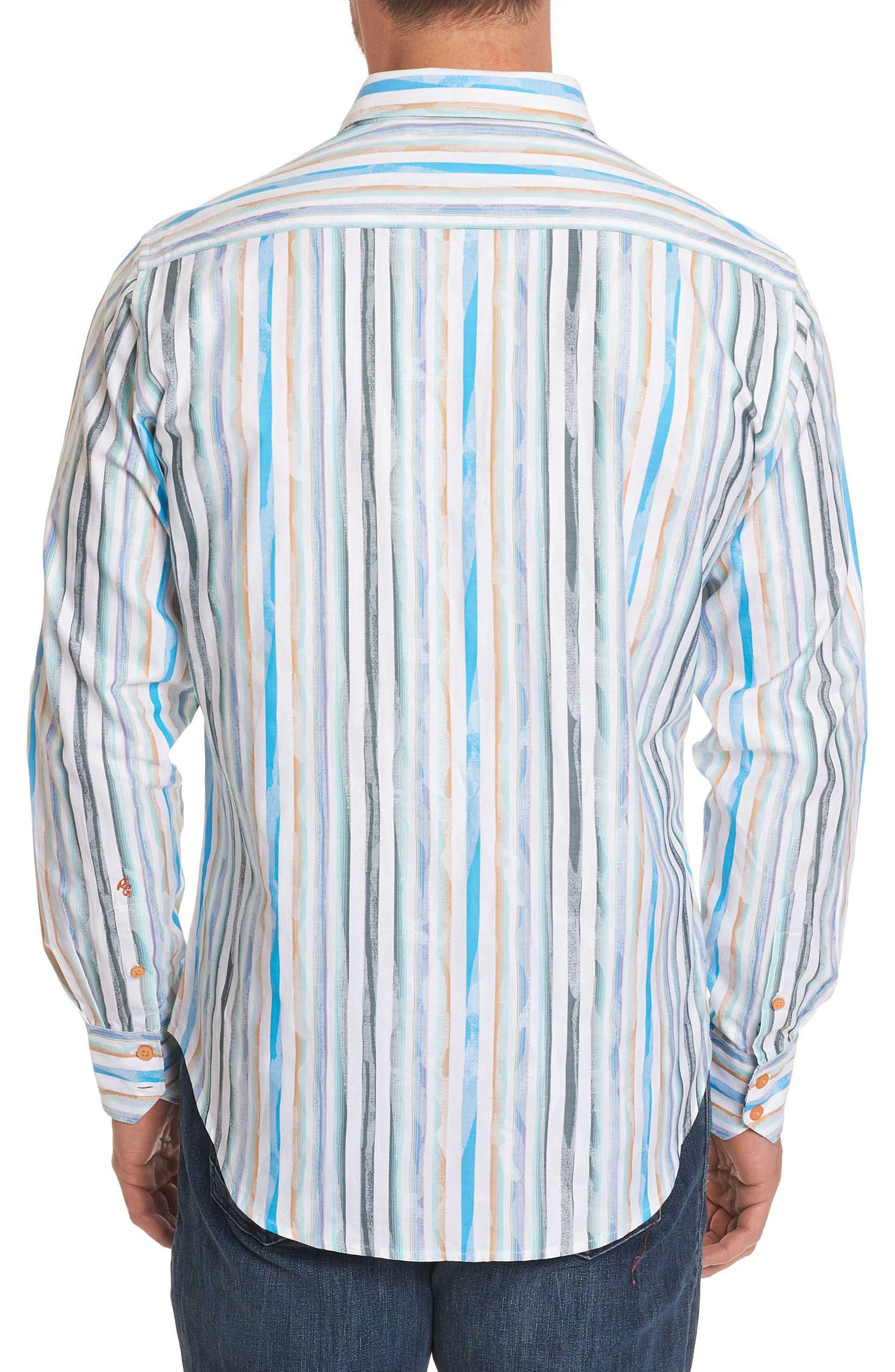 Murals Classic Fit Stripe Sport Shirt,                             Alternate thumbnail 3, color,                             White