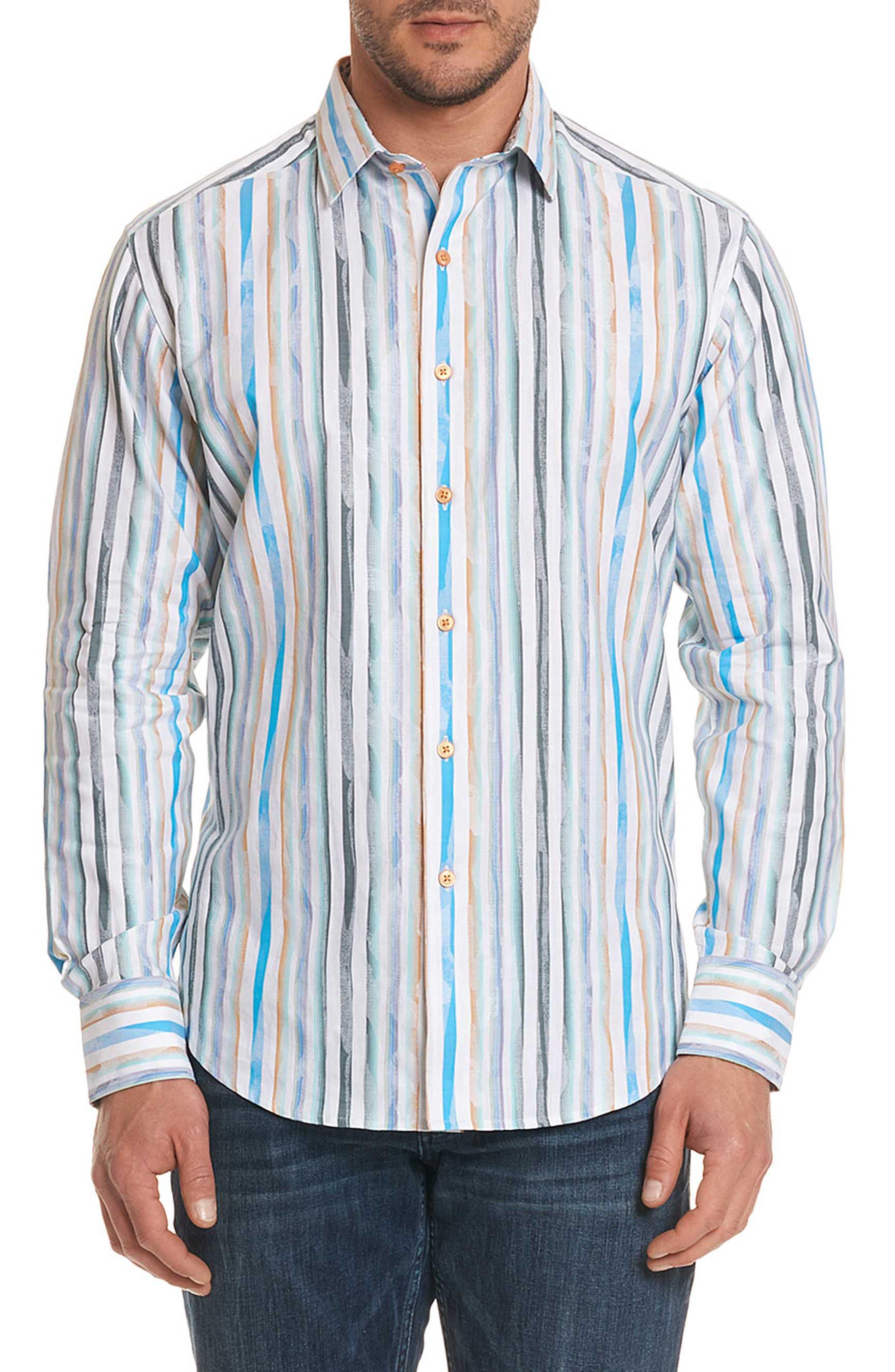 Murals Classic Fit Stripe Sport Shirt,                         Main,                         color, White