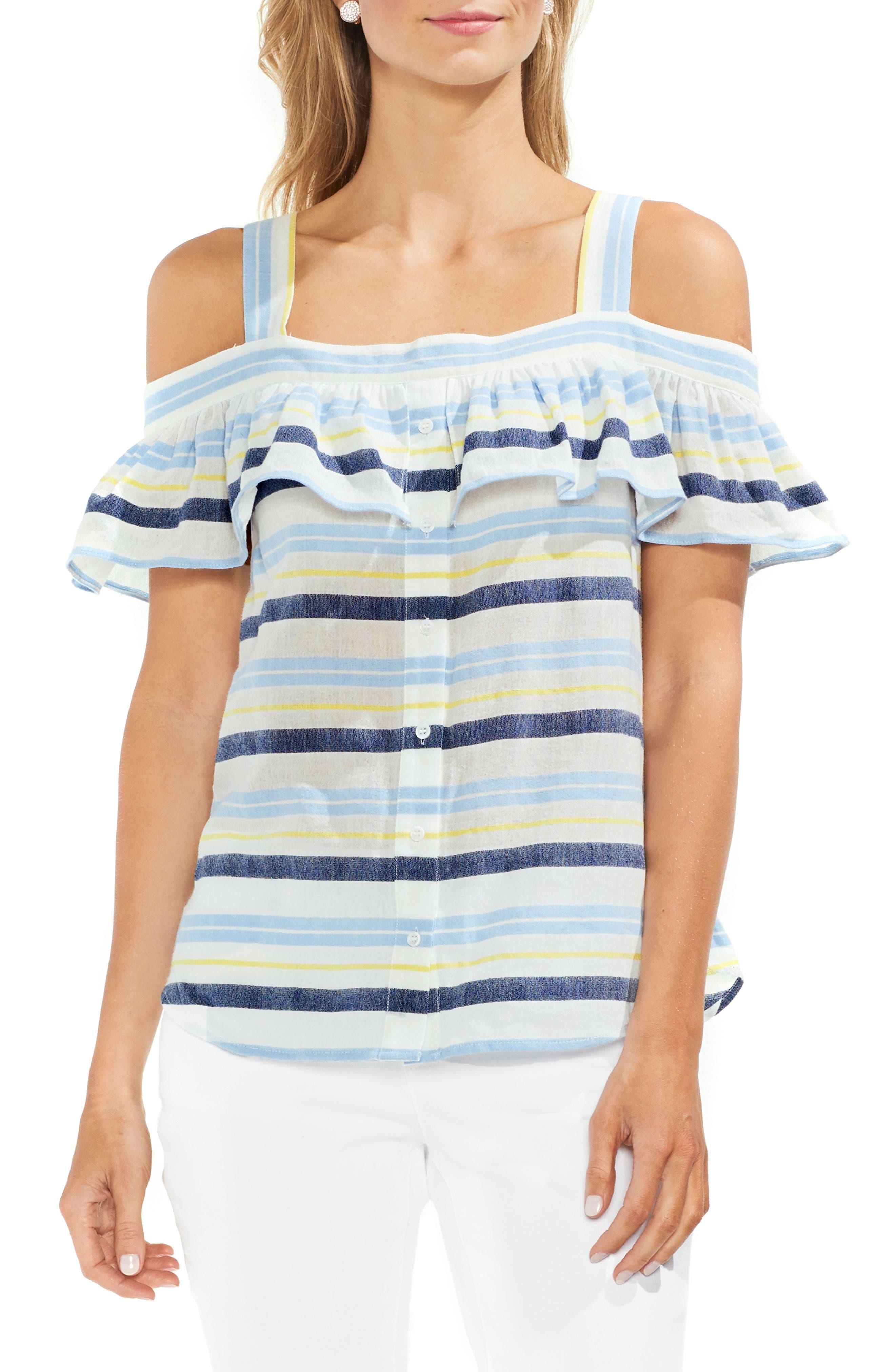 Ruffle Stripe Cotton Top,                         Main,                         color, Lemon Cream