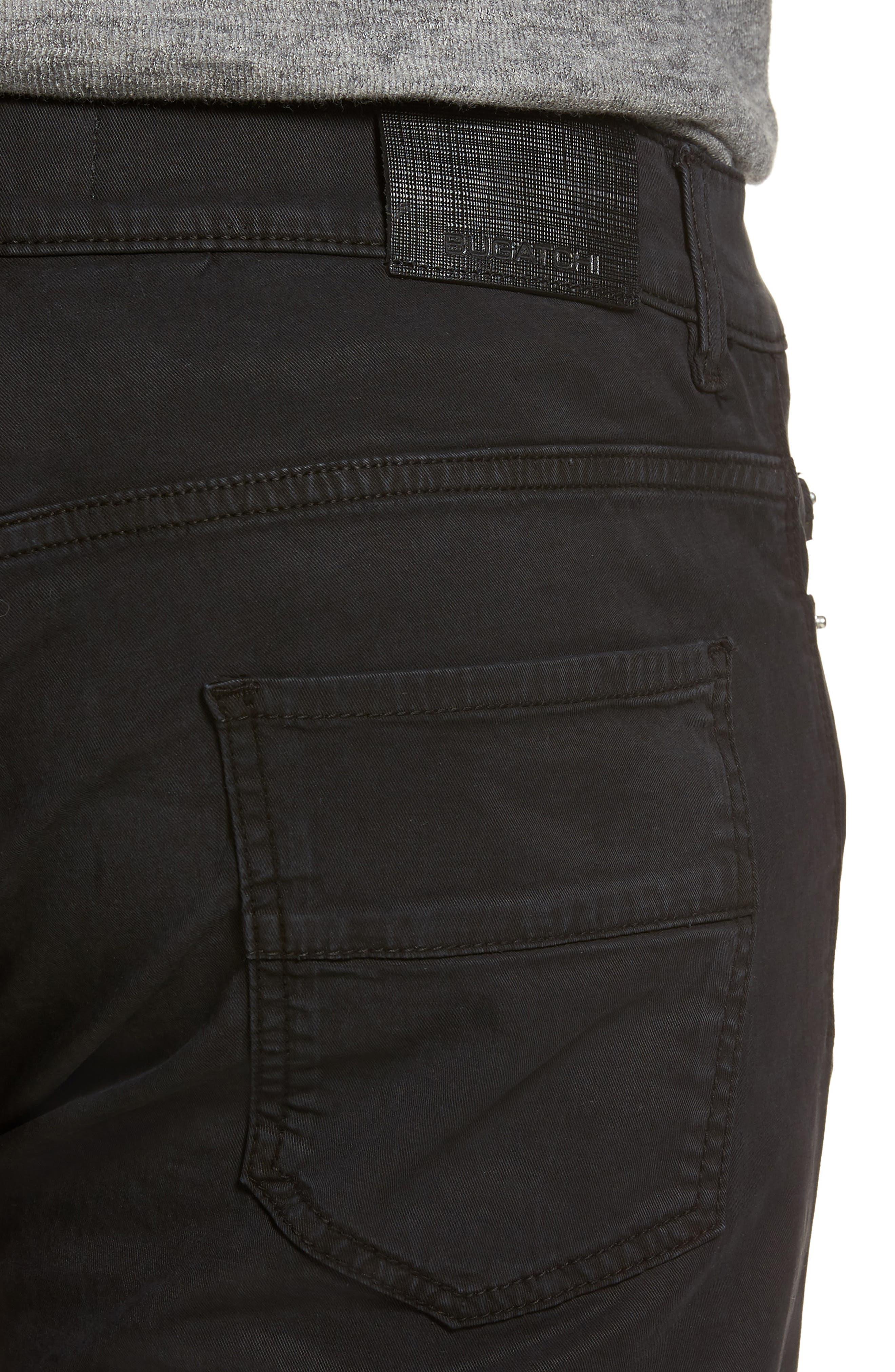 Slim Fit Washed Five-Pocket Pants,                             Alternate thumbnail 4, color,                             Black