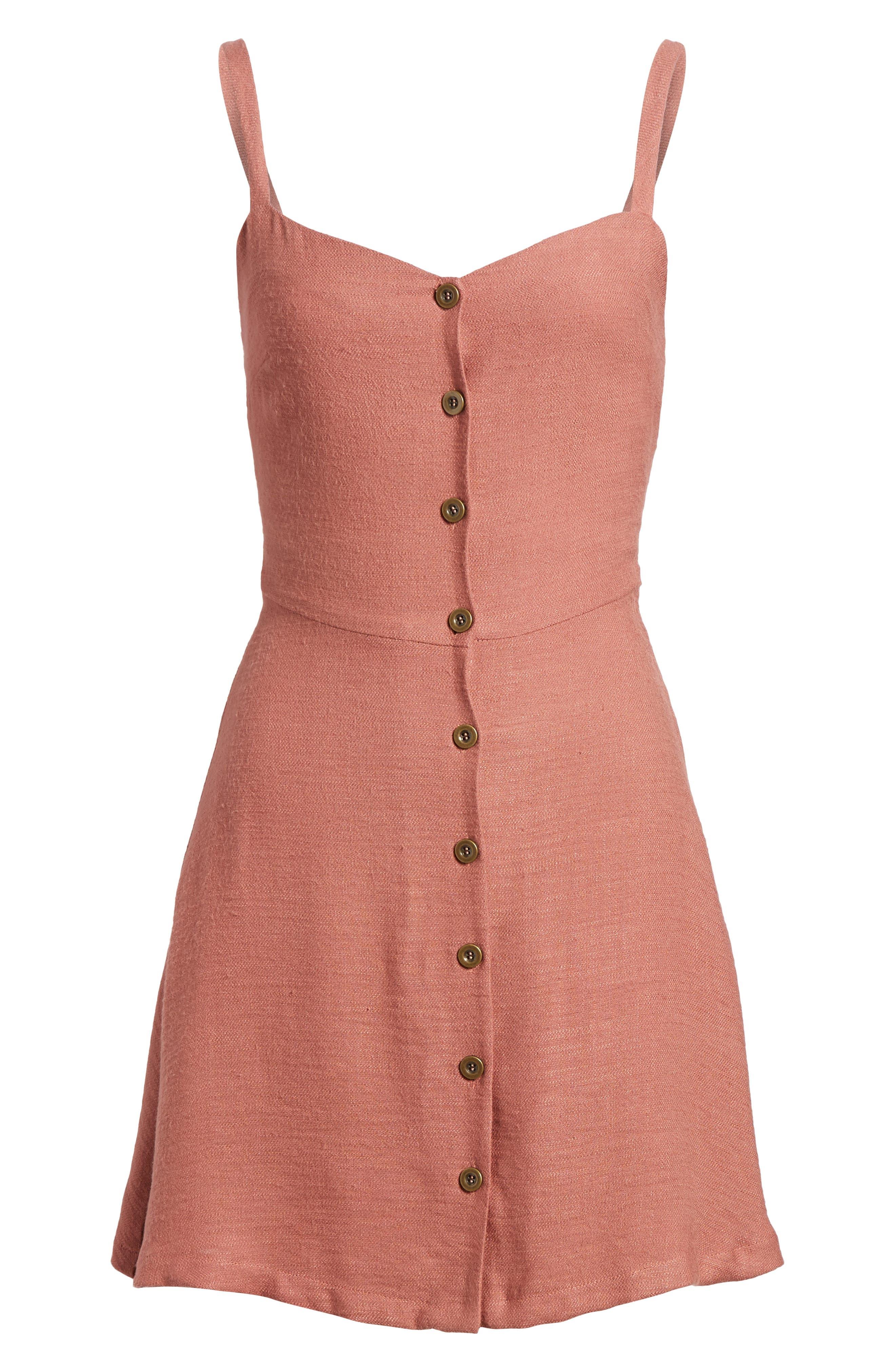 Button Front Dress,                             Alternate thumbnail 6, color,                             Coral Cedar