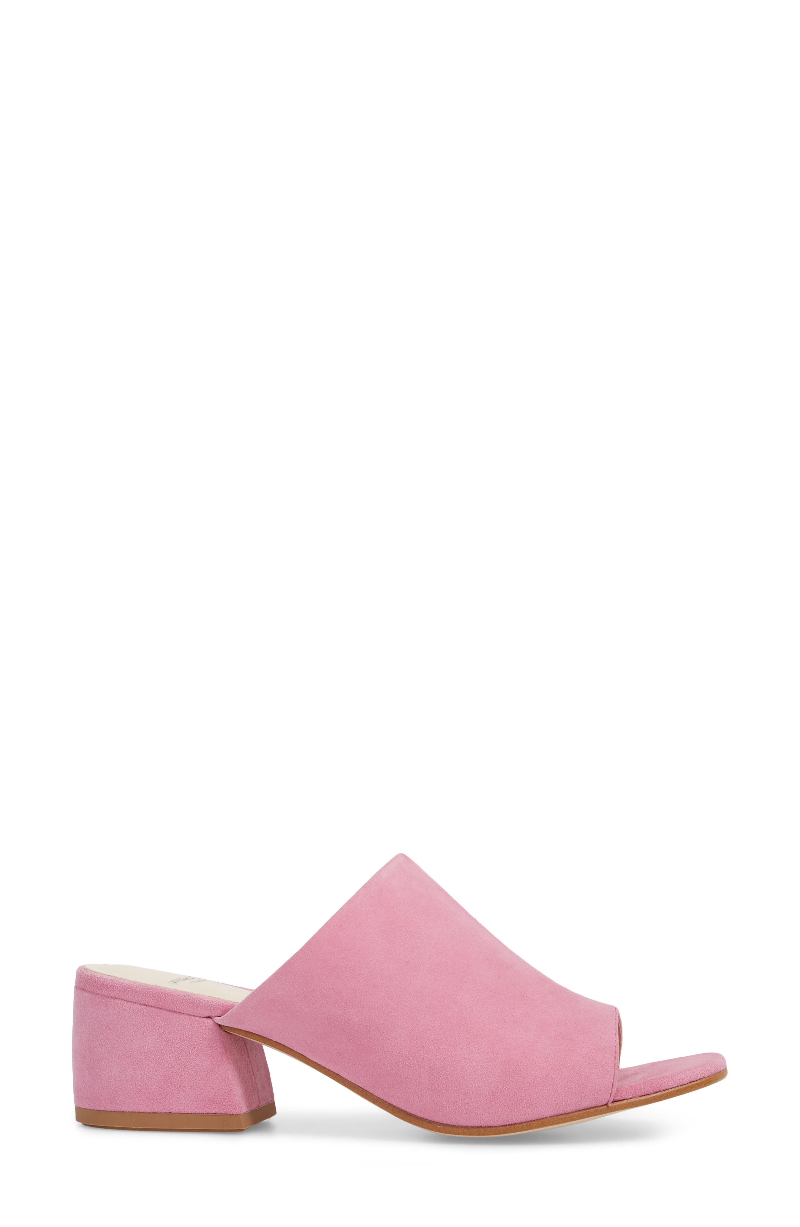 Saide Slide Sandal,                             Alternate thumbnail 3, color,                             Pink Suede