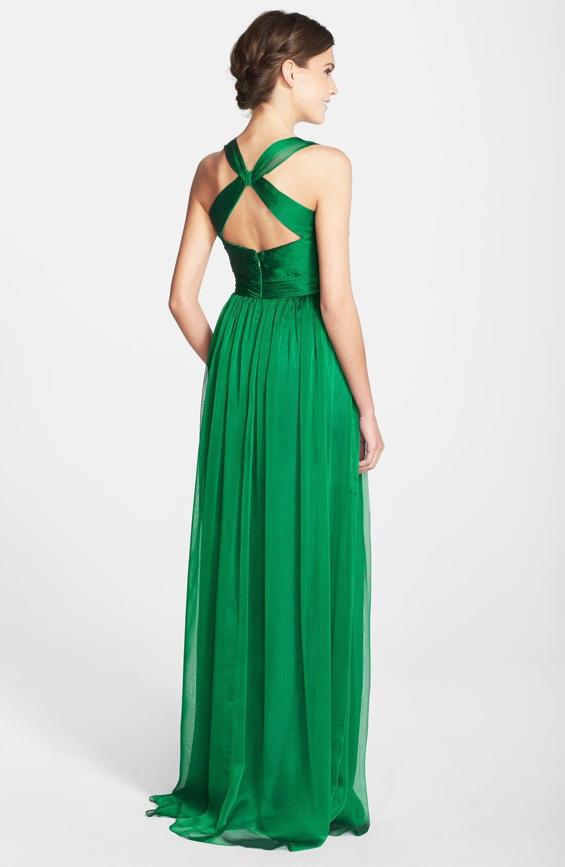 Alternate Image 2  - Monique Lhuillier Bridesmaids Shirred Chiffon Gown
