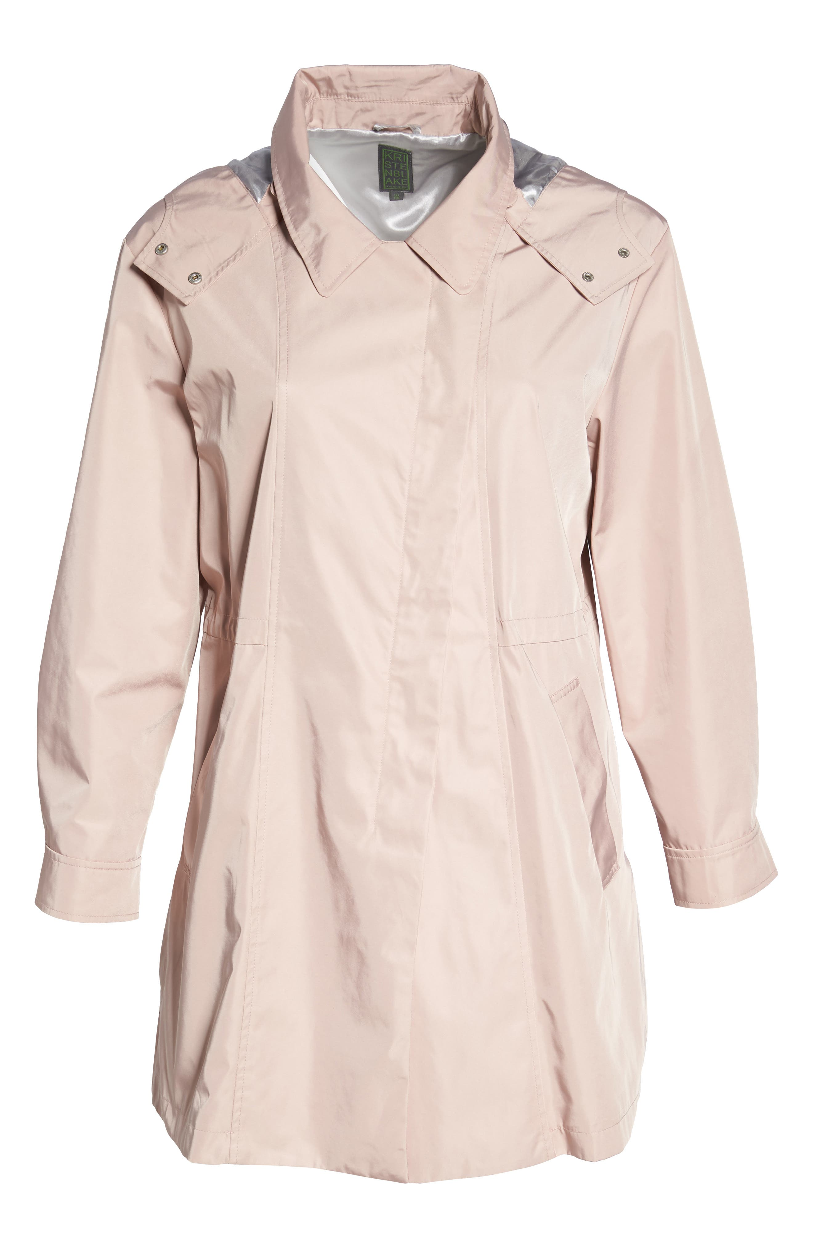 Tech Hooded Trench Coat,                             Alternate thumbnail 7, color,                             Misty Rose