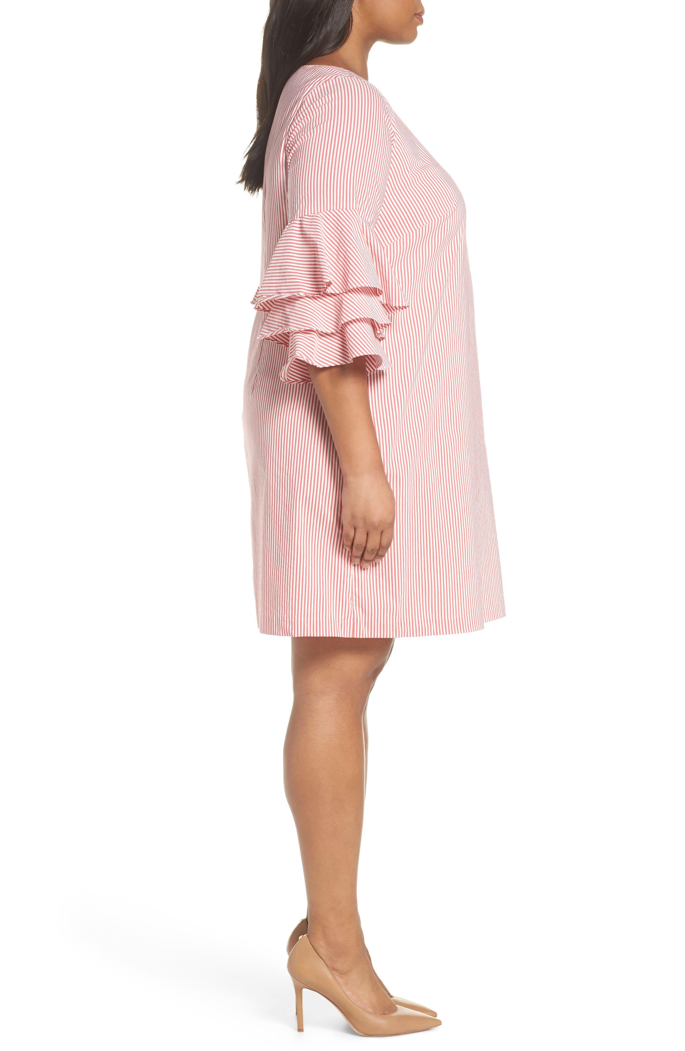 Ruffle Sleeve Stripe Shift Dress,                             Alternate thumbnail 3, color,                             Red/ White