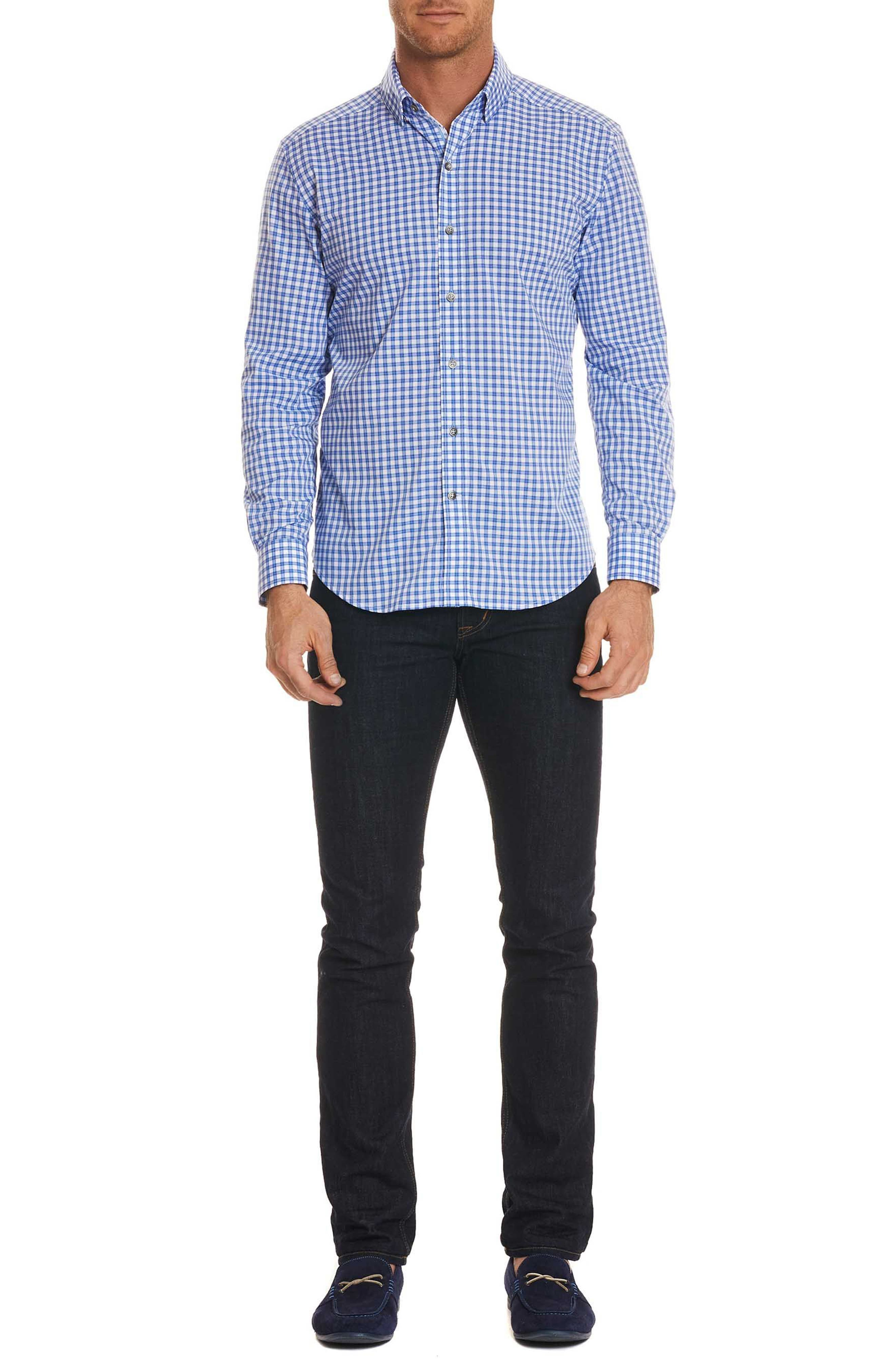 Rye Tailored Fit Check Sport Shirt,                             Alternate thumbnail 6, color,                             Blue