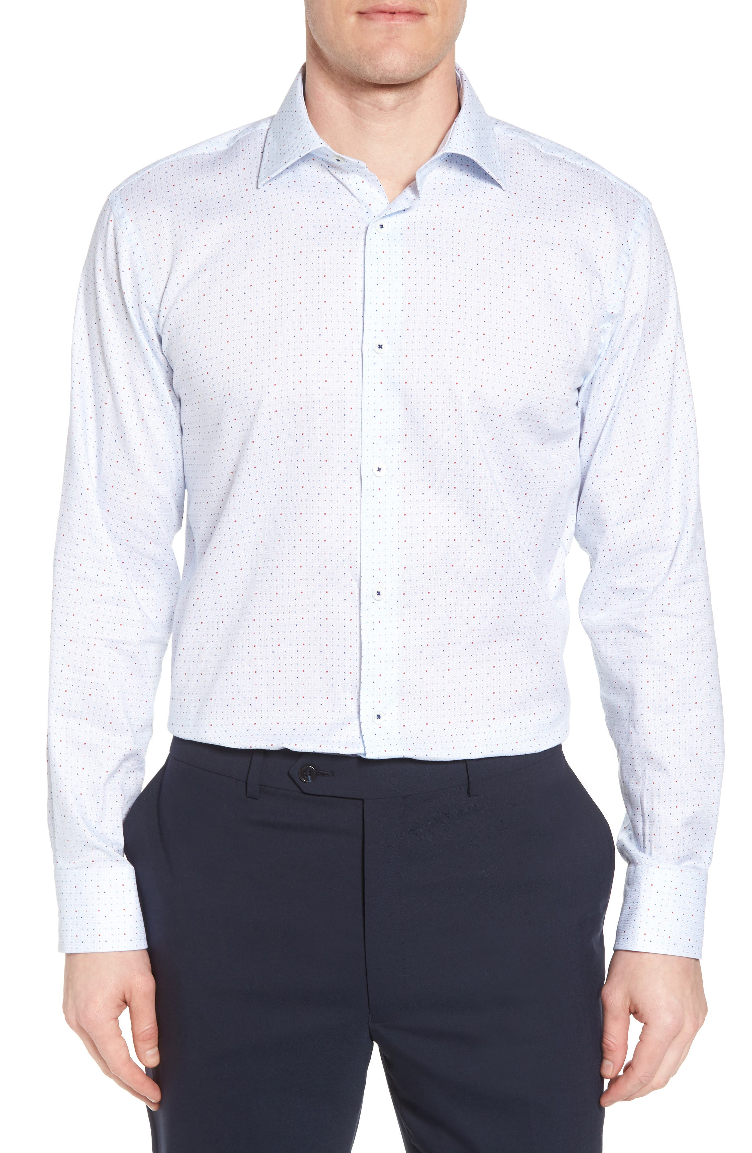 Trim Fit Dot Dress Shirt,                             Main thumbnail 1, color,                             Ice Blue