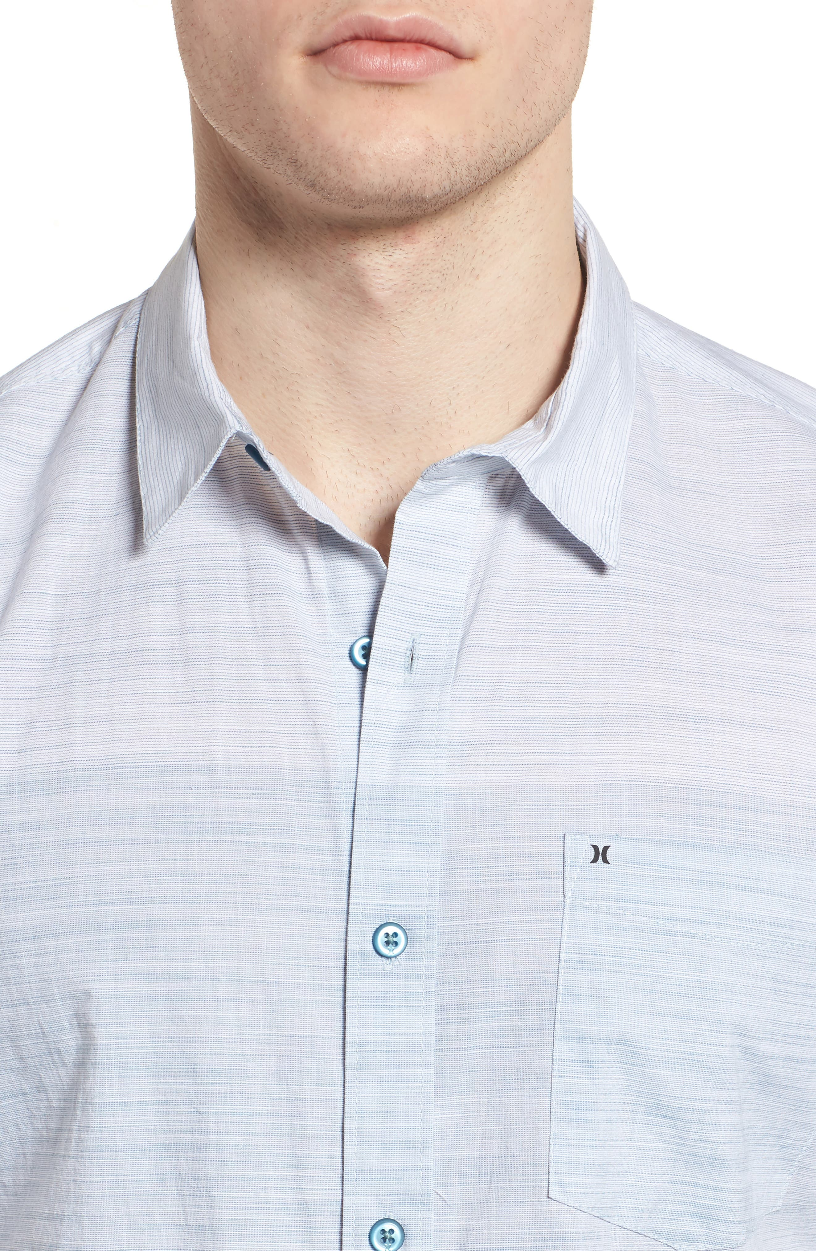 Hudson Woven Shirt,                             Alternate thumbnail 4, color,                             Noise Aqua