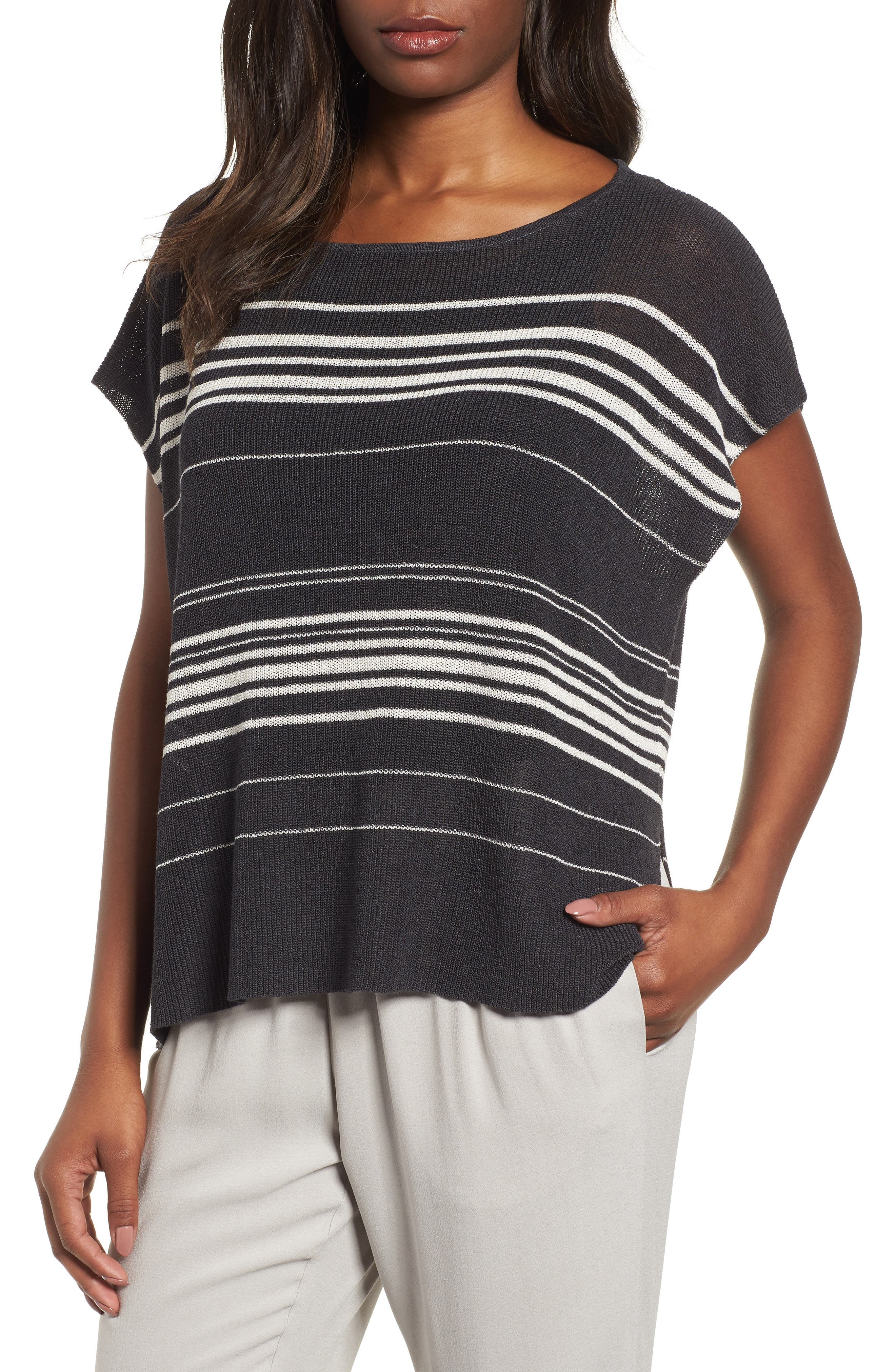 Organic Linen Blend Poncho Sweater,                         Main,                         color, Graphite/ Bone