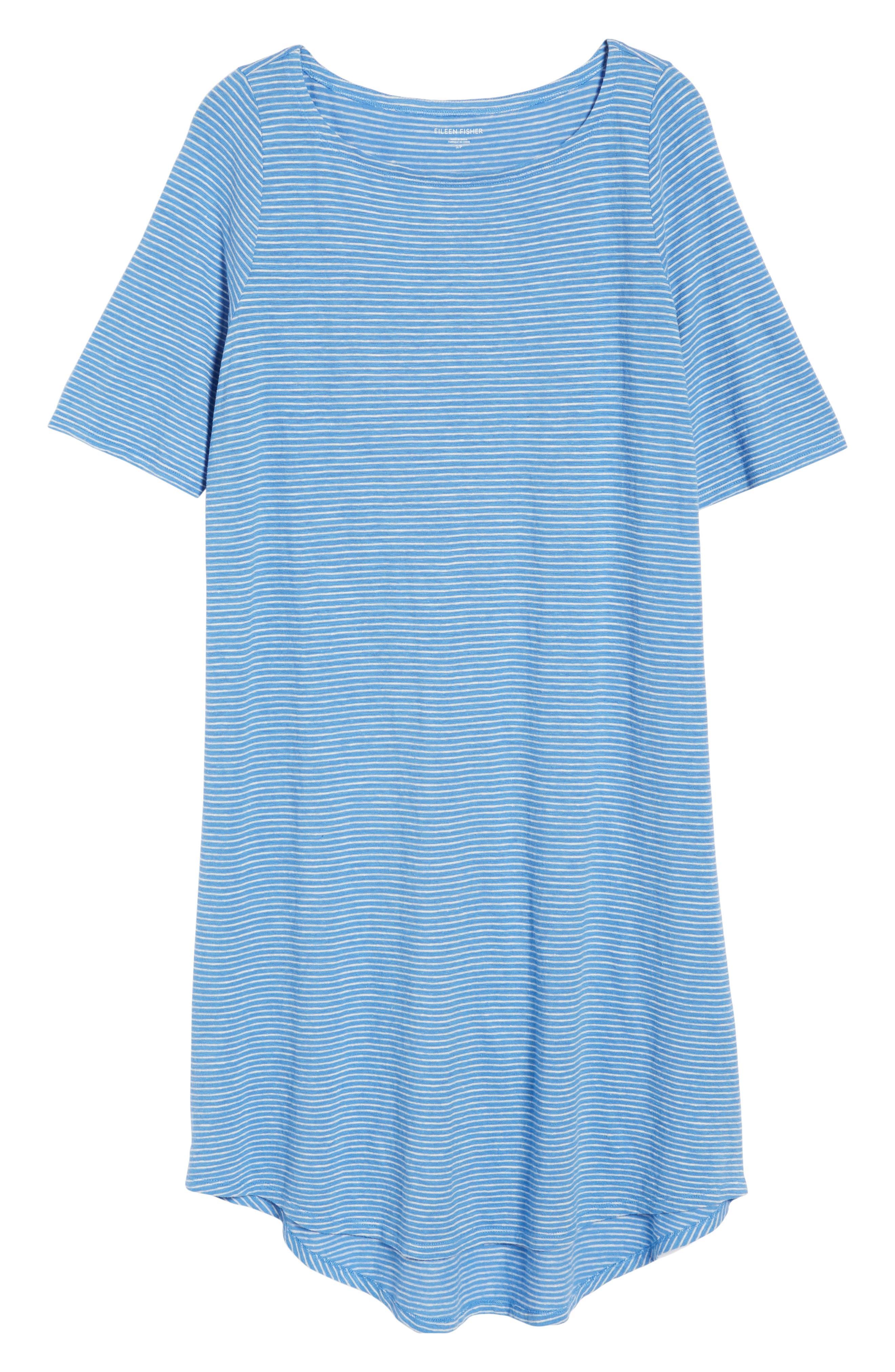 Hemp & Organic Cotton Jersey Dress,                             Alternate thumbnail 6, color,                             Bluebell