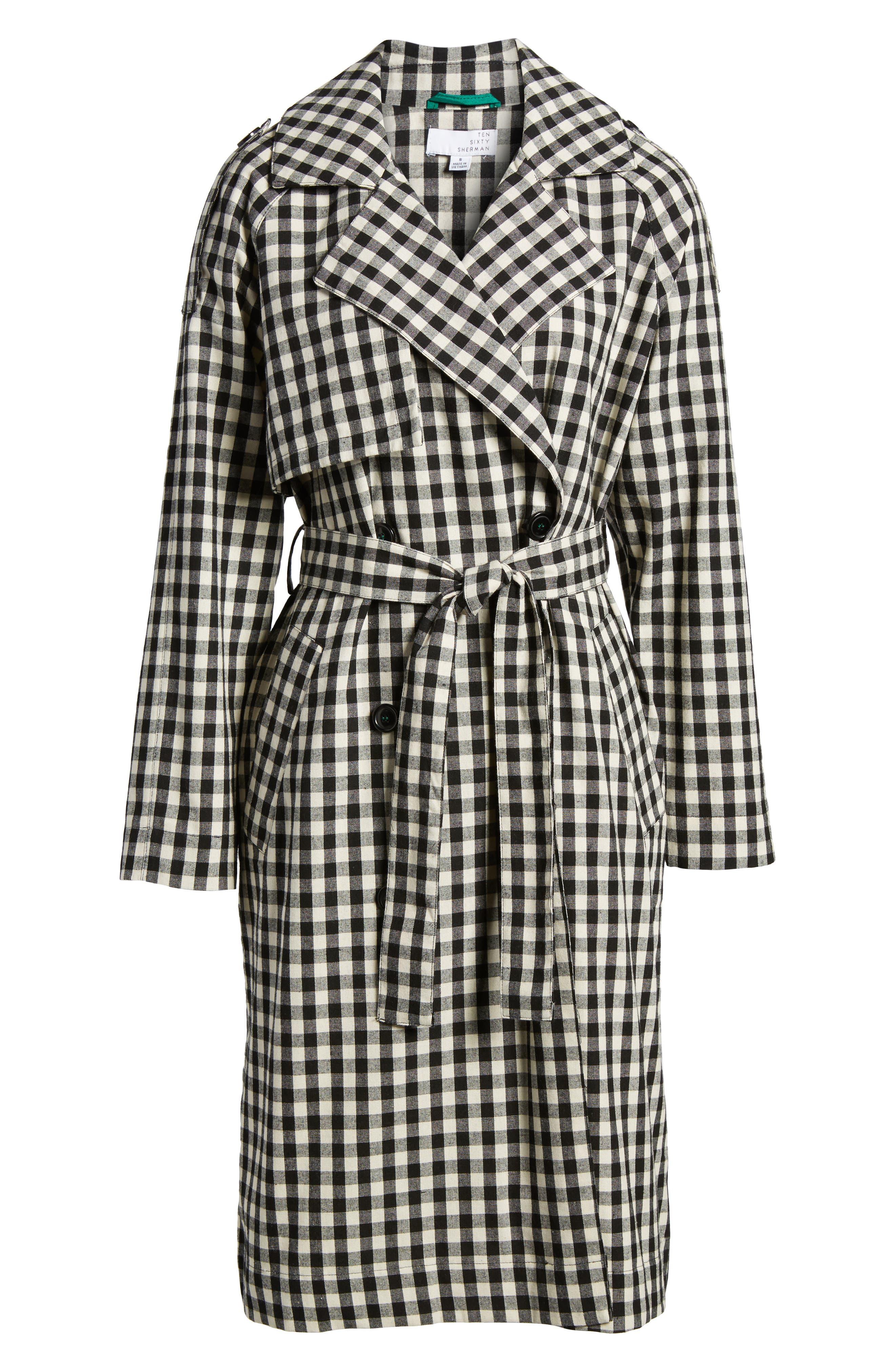 Gingham Trench Coat,                             Alternate thumbnail 7, color,                             Black/ White