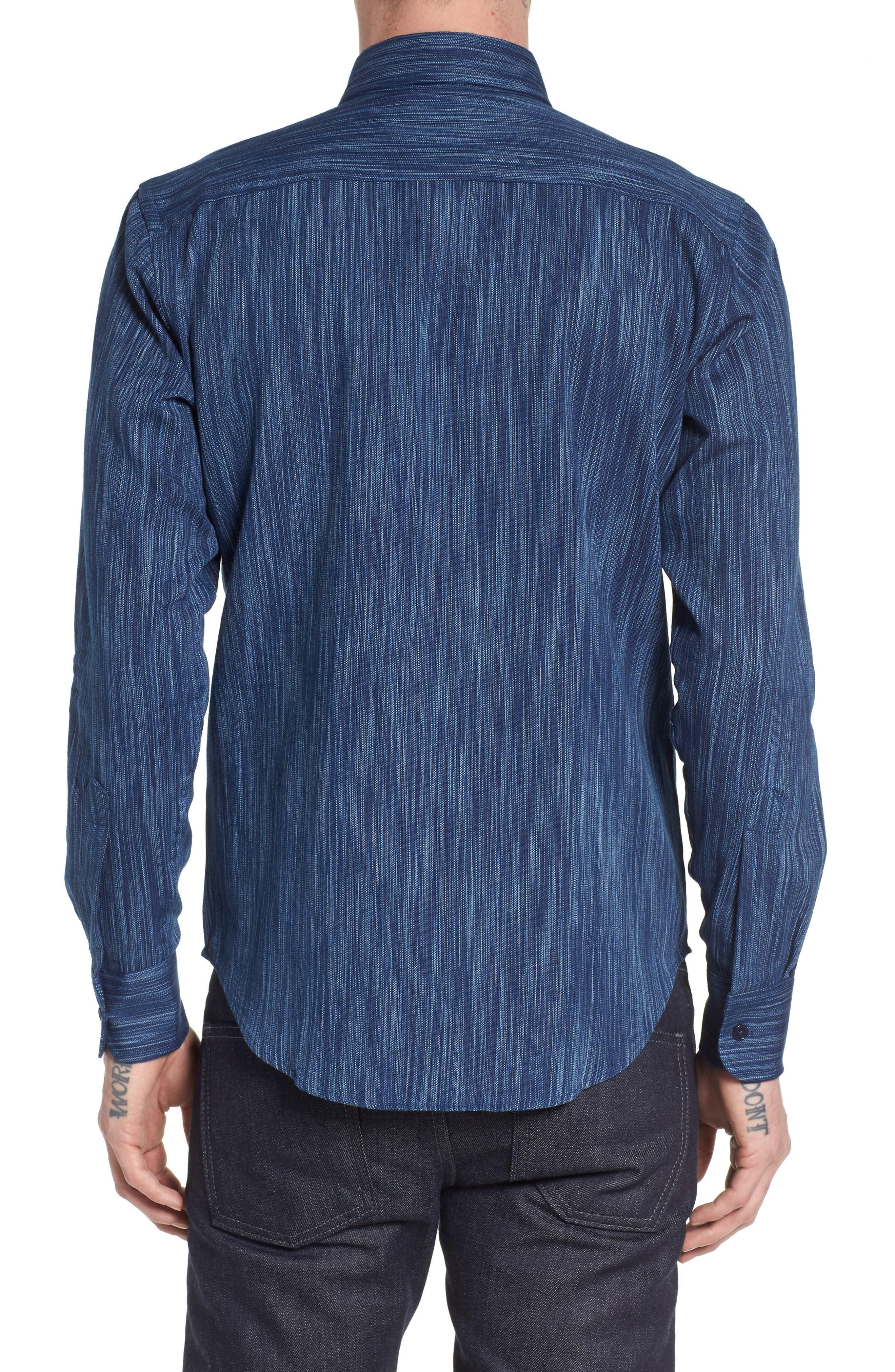 Indigo Tie Dye Rain Weave Shirt,                             Alternate thumbnail 2, color,                             Blue