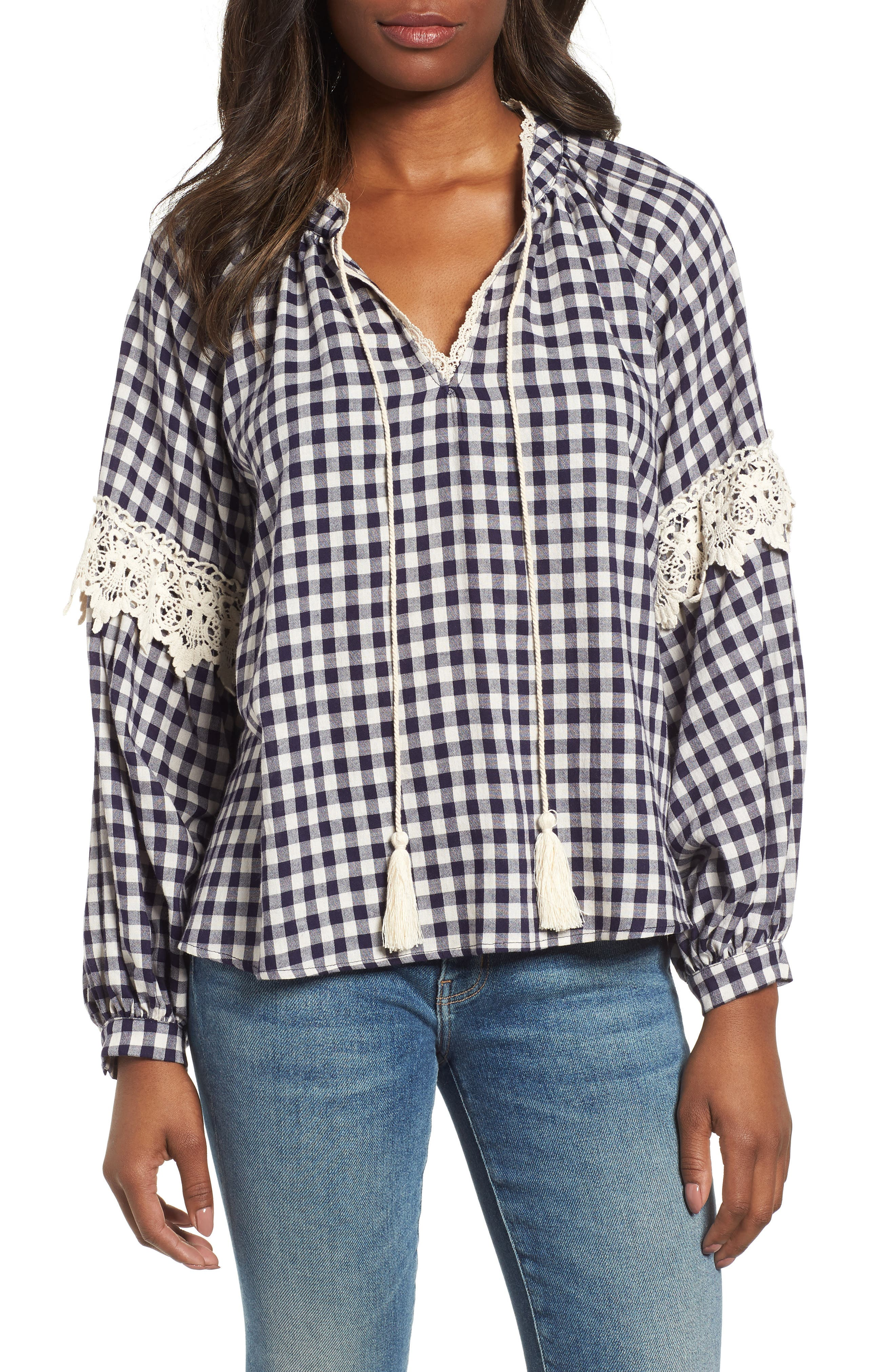 Gingham Check Peasant Top,                             Main thumbnail 1, color,                             Navy White Gingham