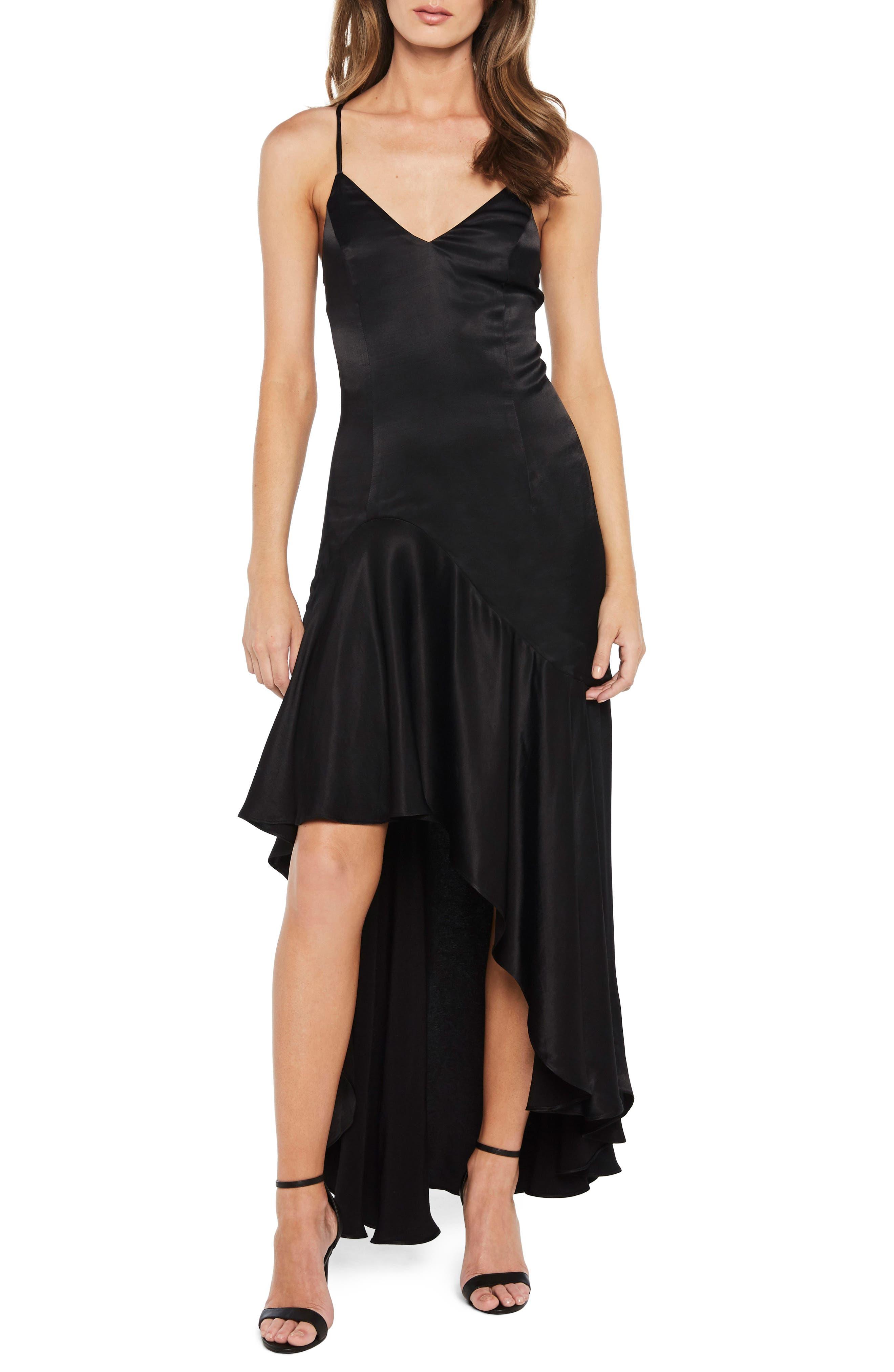 Arella Satin Gown,                         Main,                         color, Black