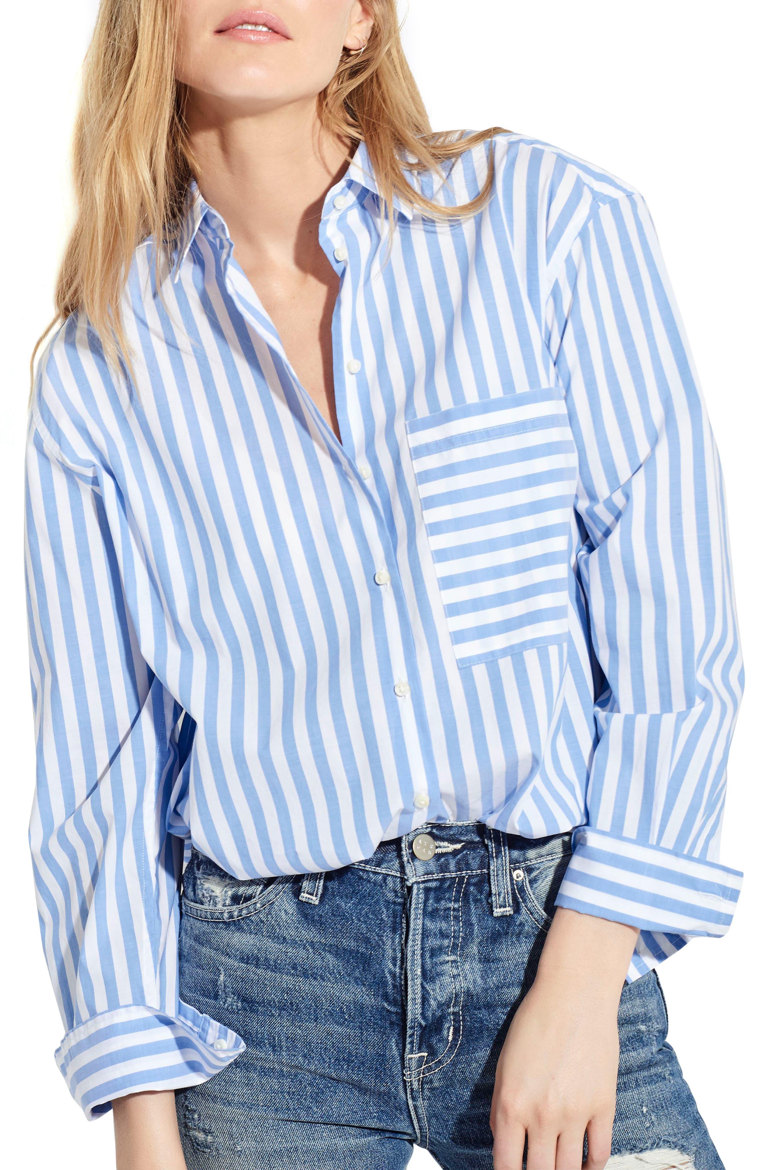 The Deep End Stripe Shirt,                             Main thumbnail 1, color,                             Blue/ White Stripe
