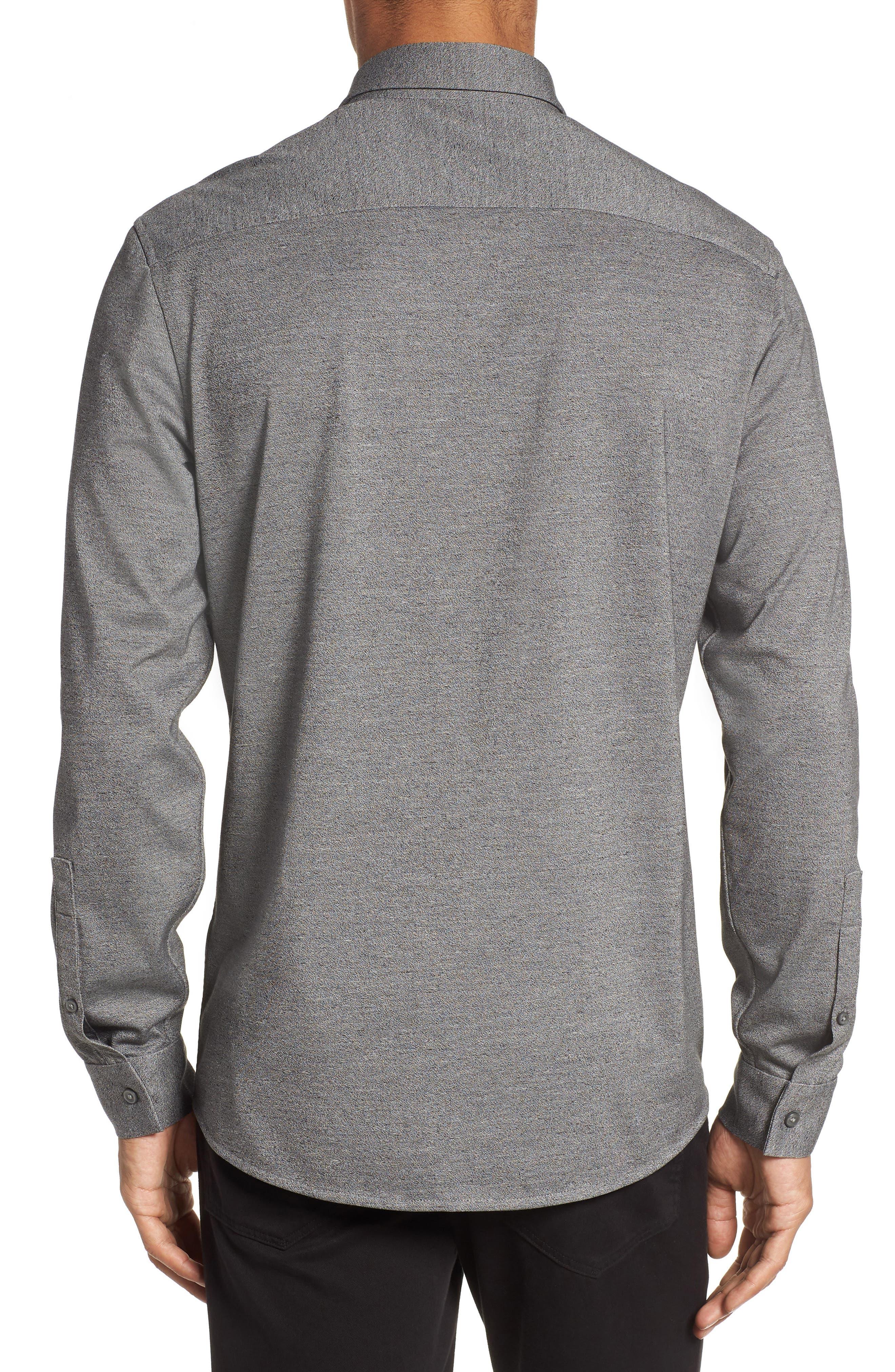 Knit Sport Shirt,                             Alternate thumbnail 2, color,                             Grey Micro Black Jaspe