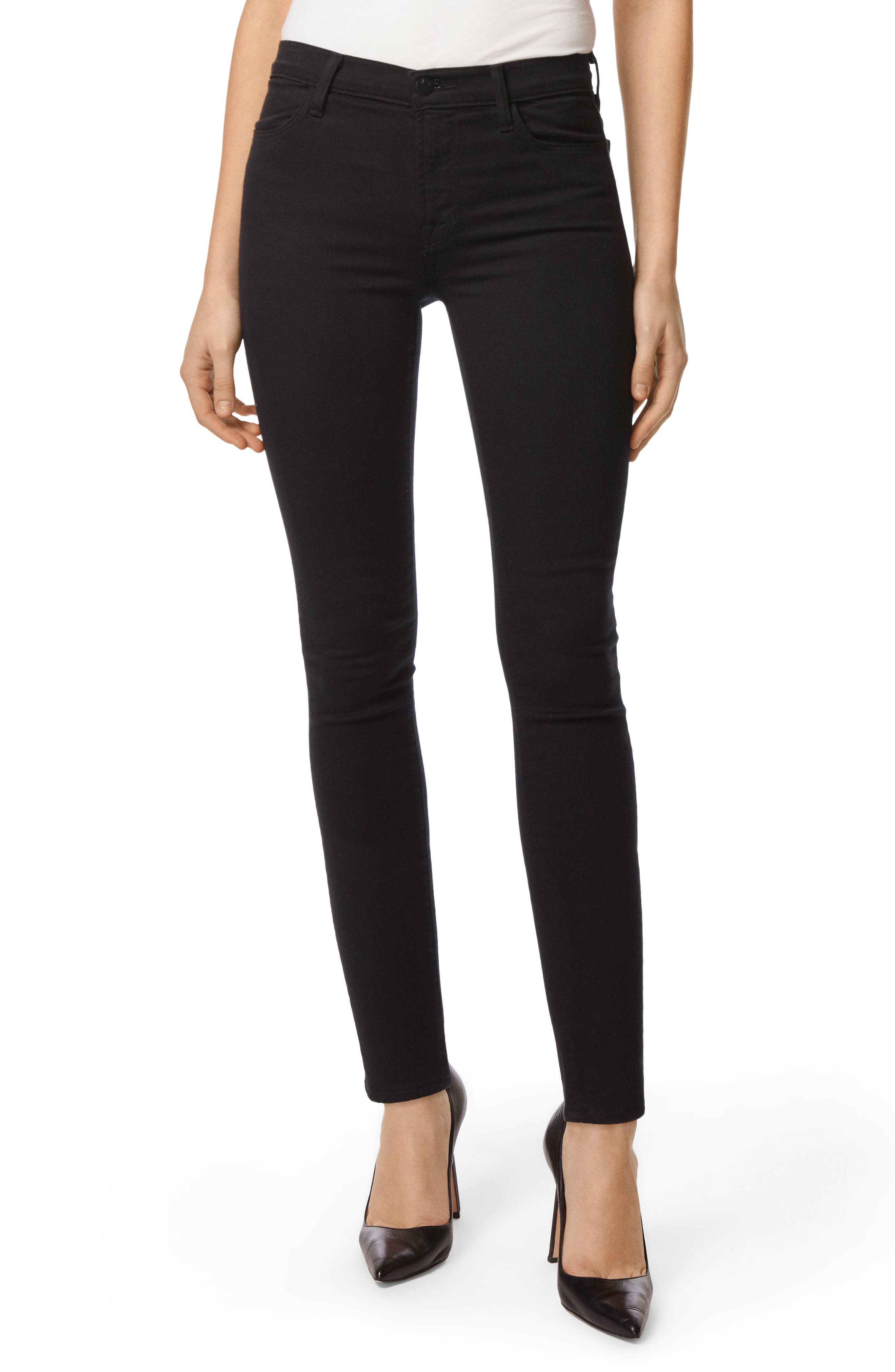 Main Image - J Brand Maria High Waist Super Skinny Jeans (Seriously Black)