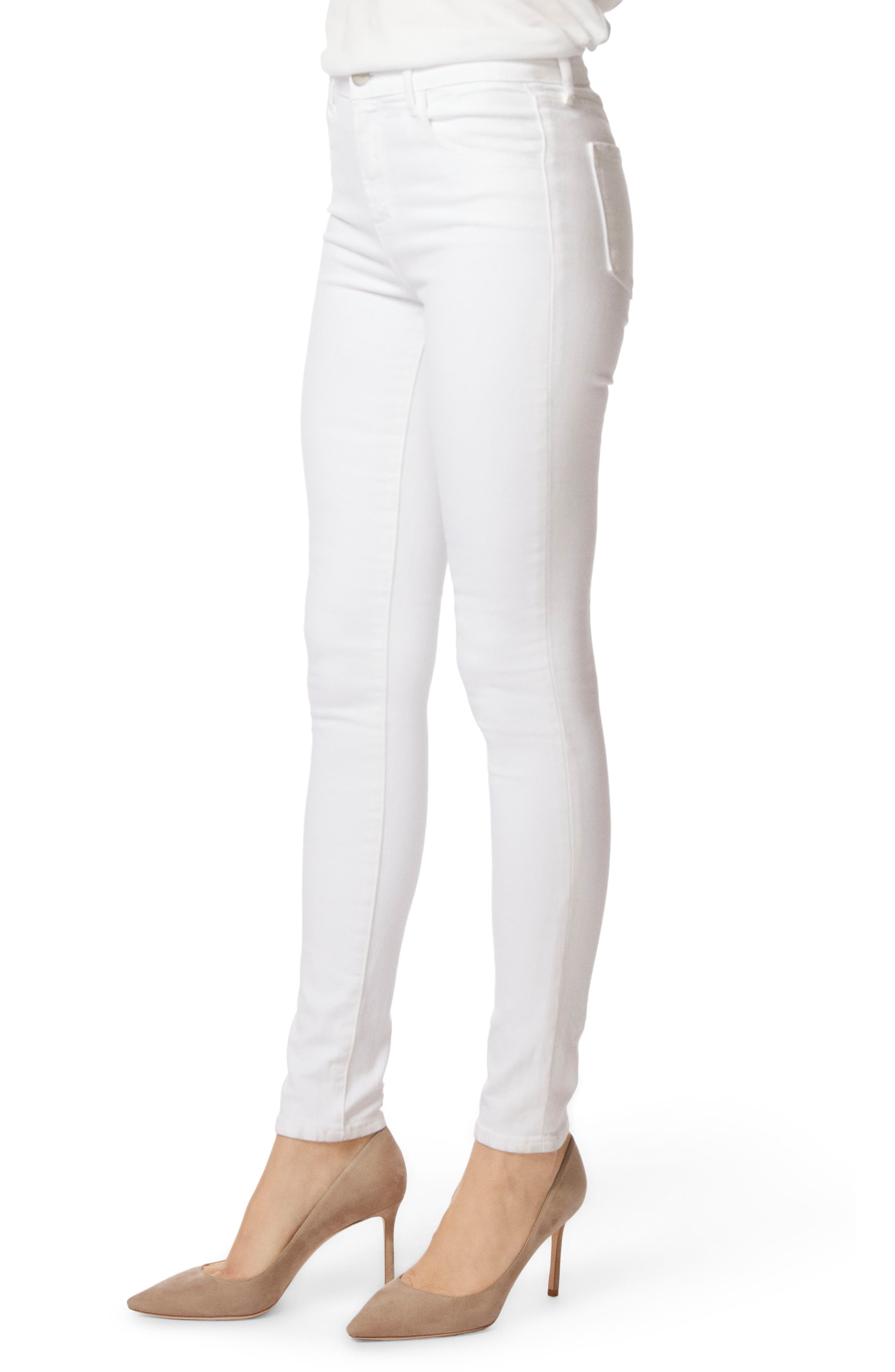 2311 Maria High Waist Super Skinny Jeans,                             Alternate thumbnail 4, color,                             Blanc