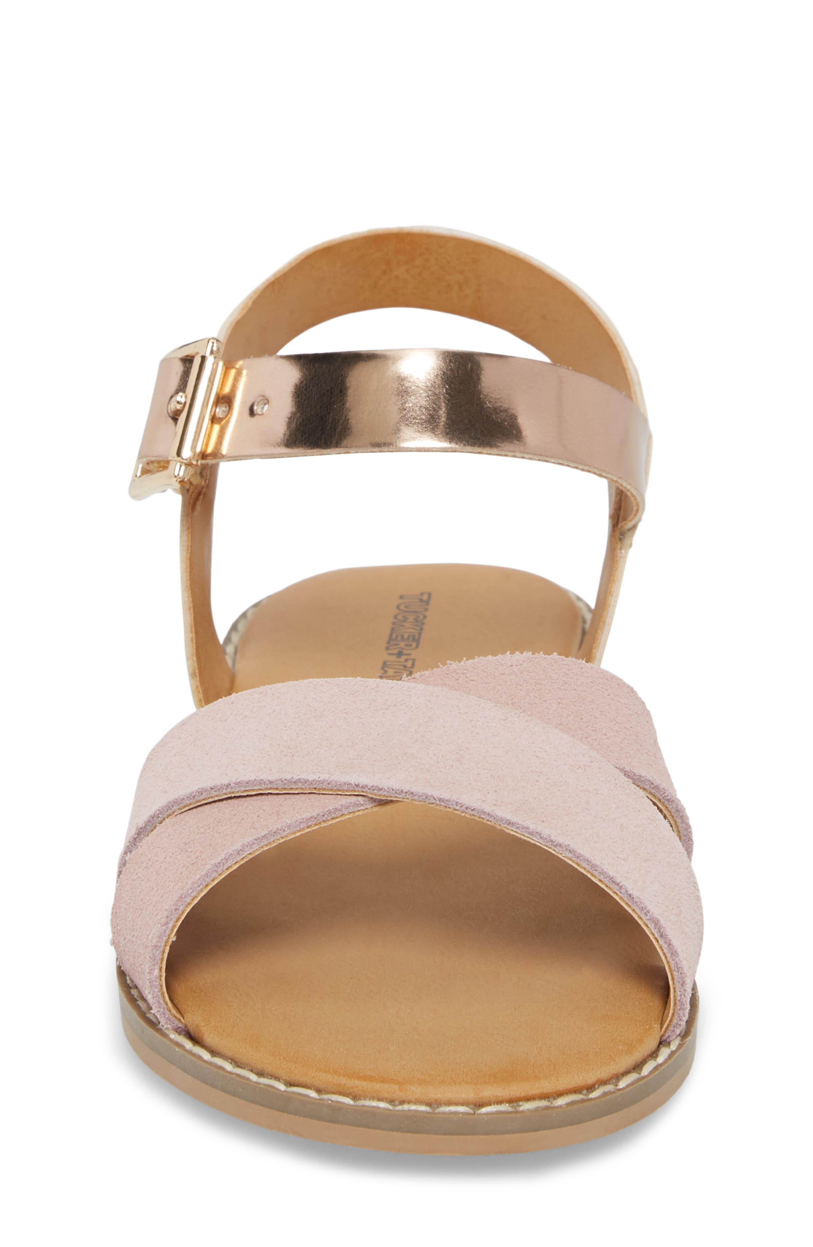 Arya Cross Strap Sandal,                             Alternate thumbnail 5, color,                             Rose Gold Faux Lea