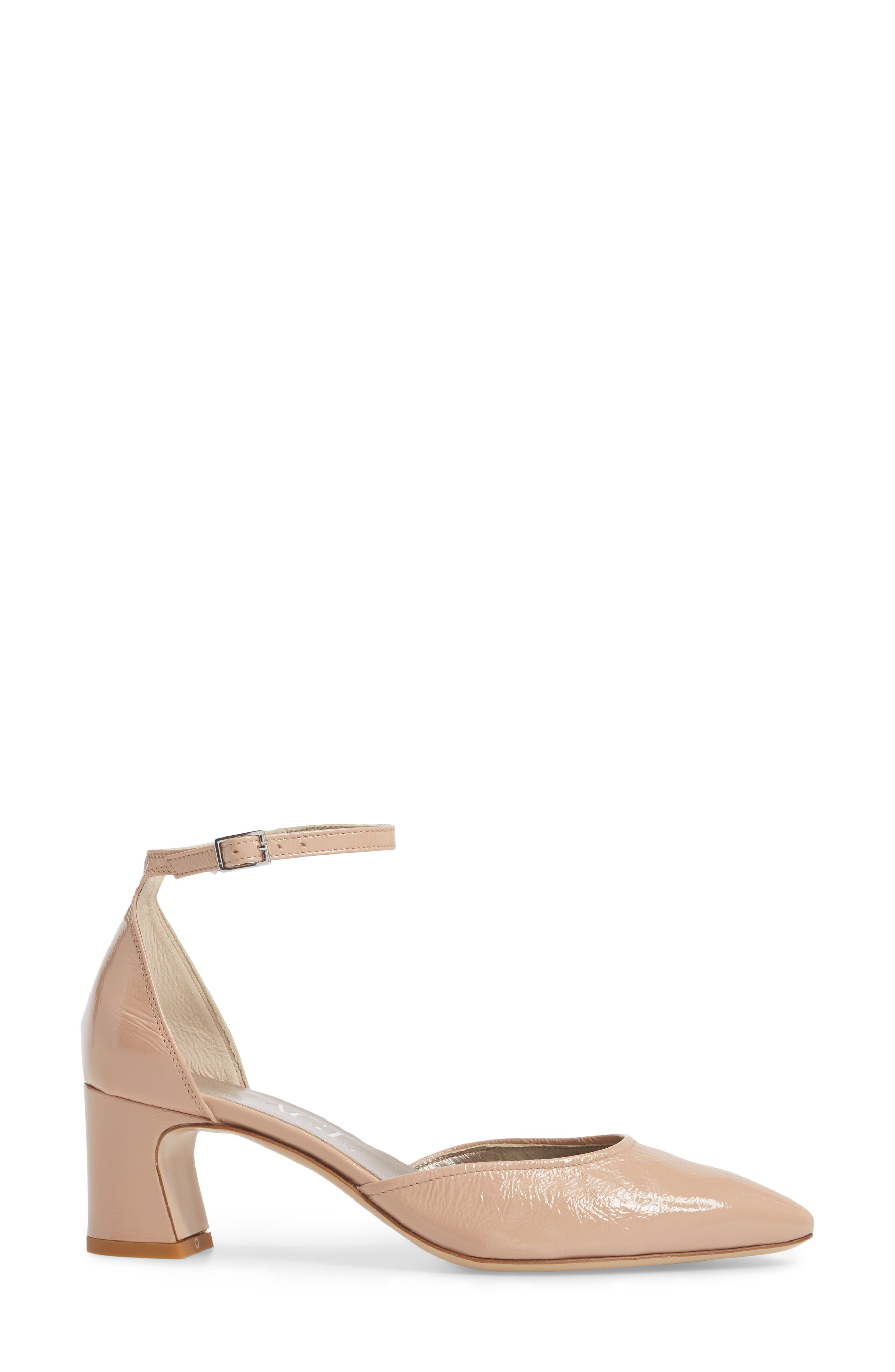 d'Orsay Ankle Strap Pump,                             Alternate thumbnail 3, color,                             Nude Glammy Leather