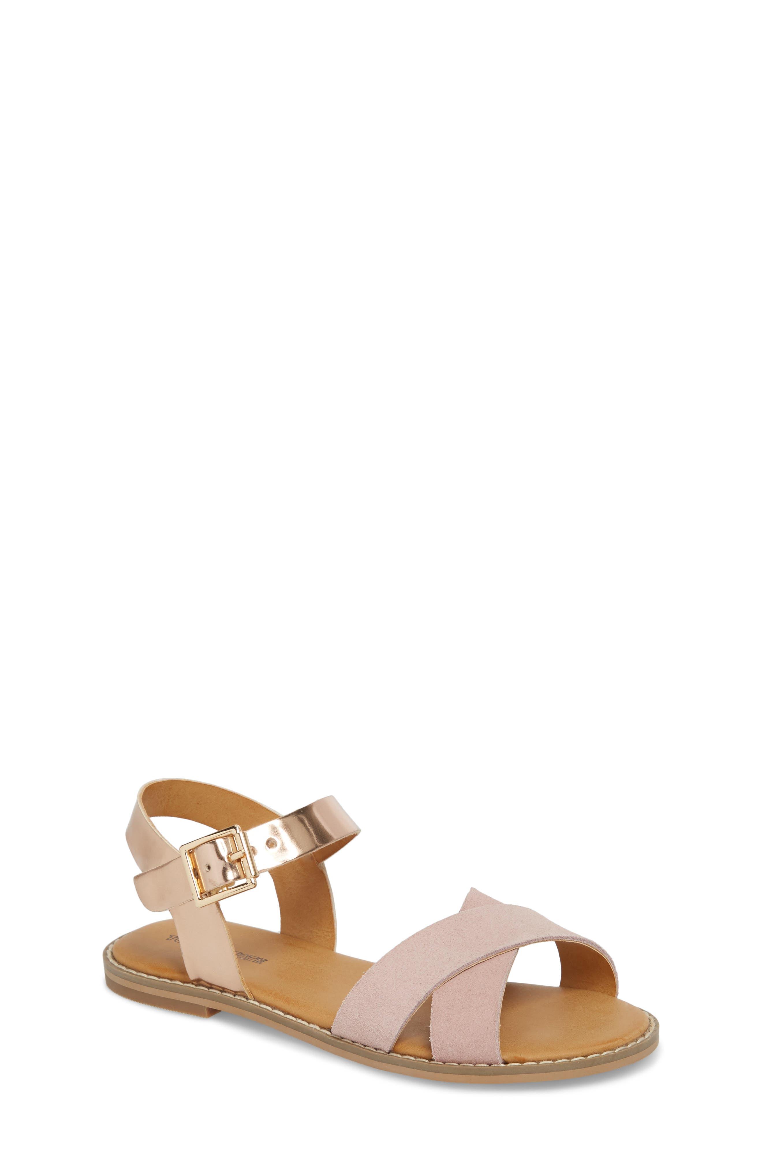 Arya Cross Strap Sandal,                         Main,                         color, Rose Gold Faux Lea