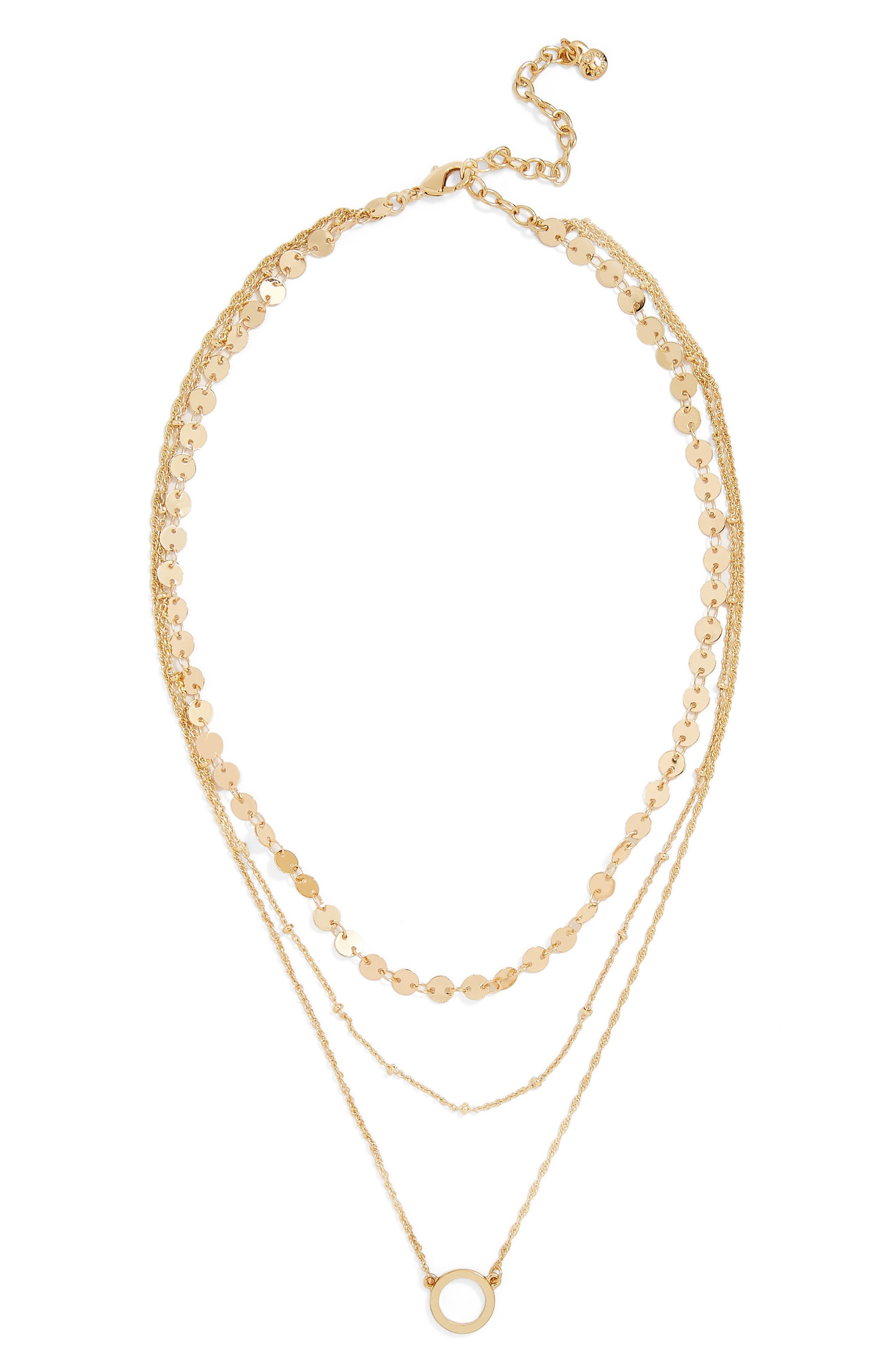 Adrielle Triple Strand Necklace,                             Main thumbnail 1, color,                             Gold