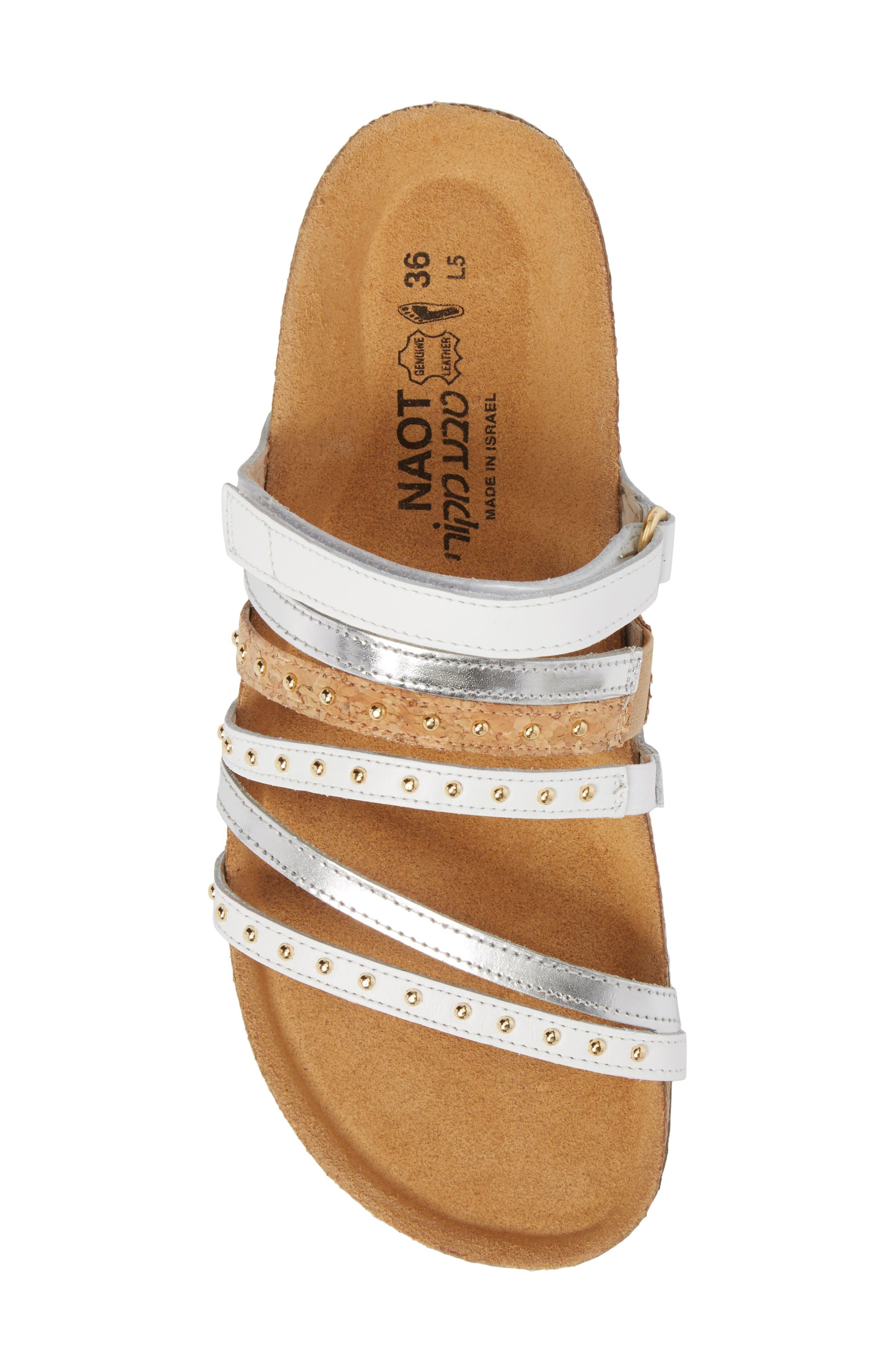 Prescott Sandal,                             Alternate thumbnail 5, color,                             White/ Silver Leather