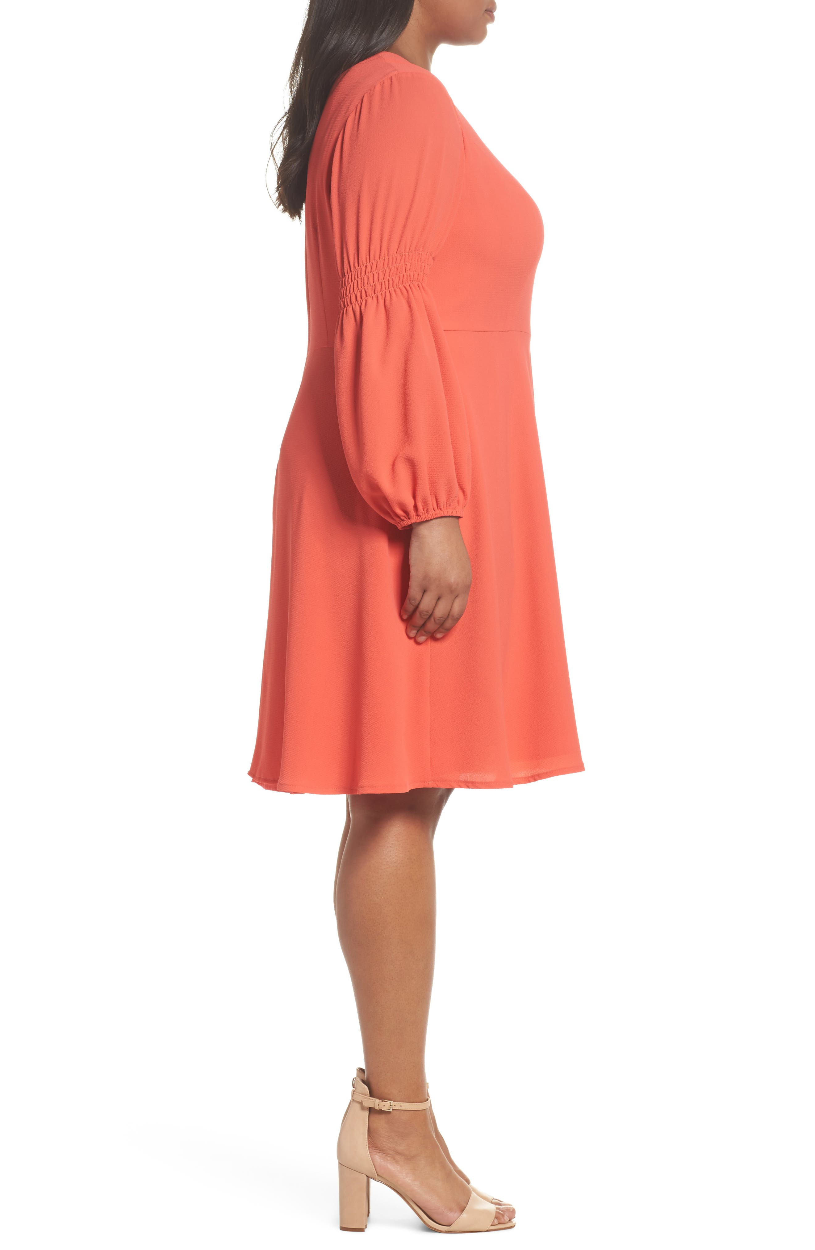 Smocked Puff Sleeve Fit & Flare Dress,                             Alternate thumbnail 3, color,                             Begonia