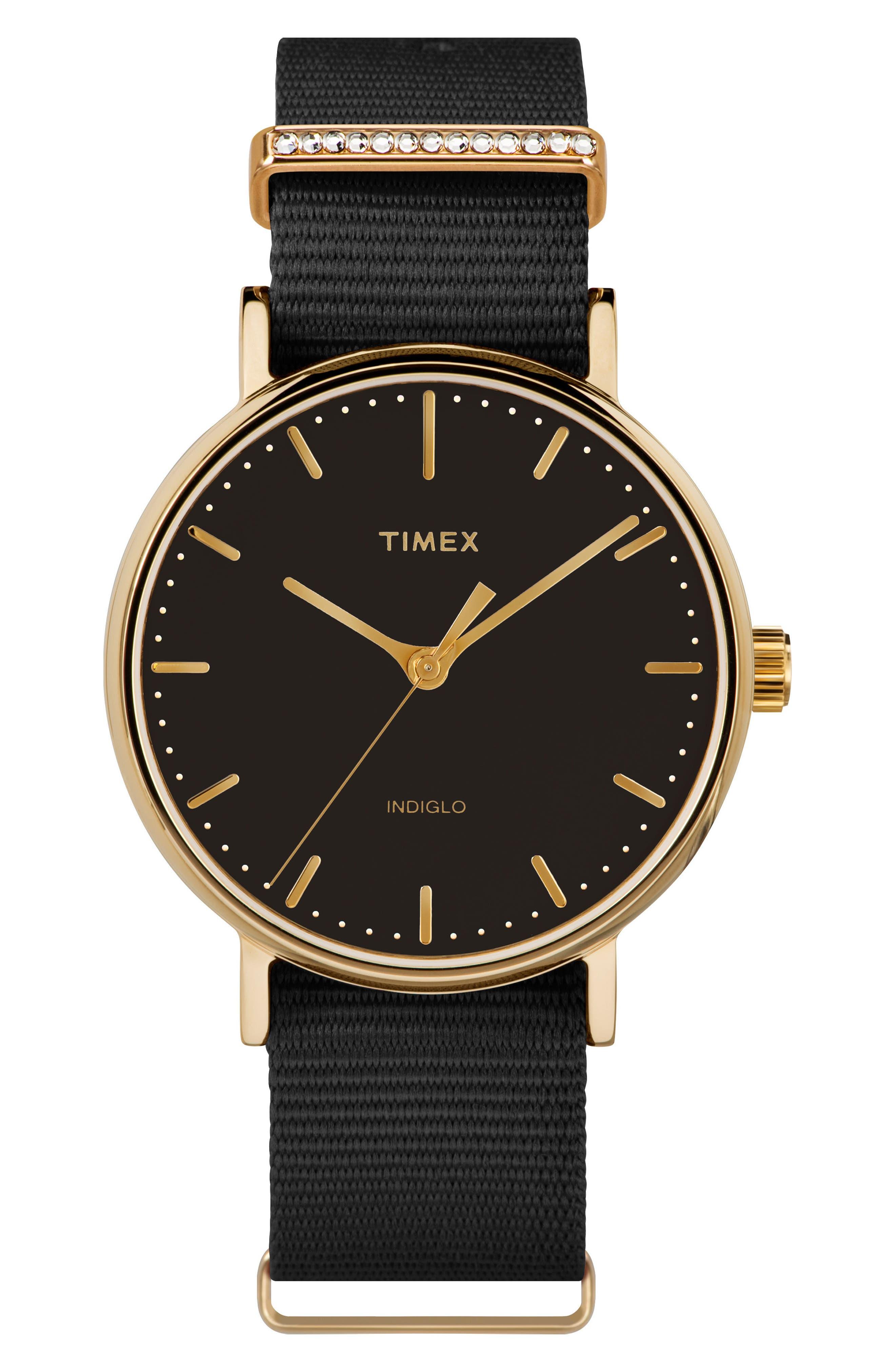 Fairfield Nylon Strap Watch, 37mm,                             Main thumbnail 1, color,                             Black/ Gold