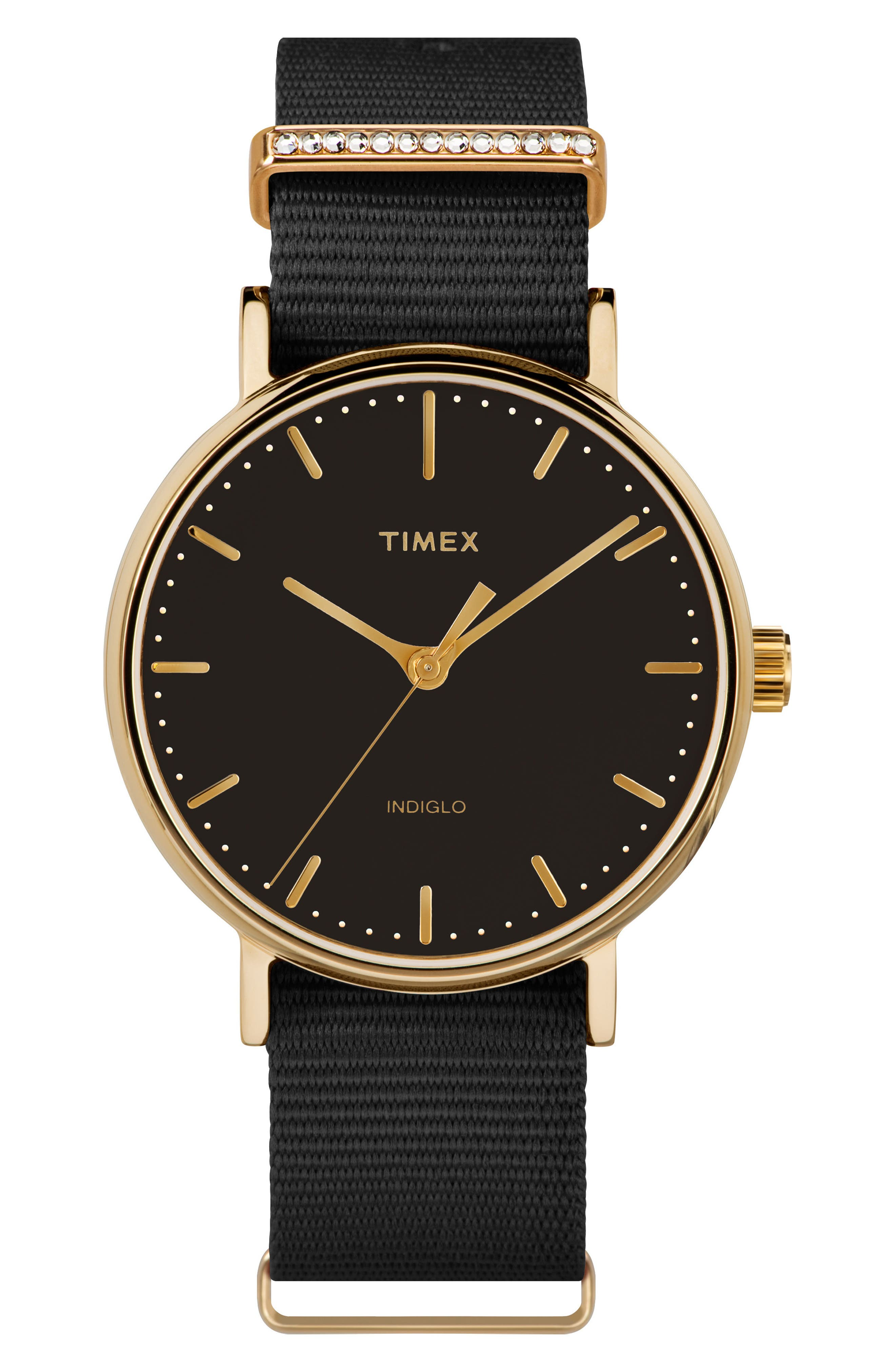 Fairfield Nylon Strap Watch, 37mm,                         Main,                         color, Black/ Gold